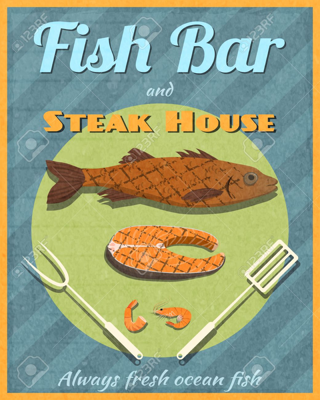 Fish Bar Steak House Retro Vintage Grill Restaurant Poster Vector Royalty Free Cliparts Vectors And Stock Illustration Image 27942268
