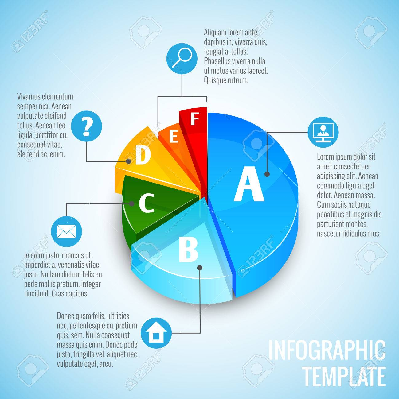 Colored abstract 3d pie chart web design infographic element colored abstract 3d pie chart web design infographic element with internet icons vector illustration stock vector geenschuldenfo Gallery