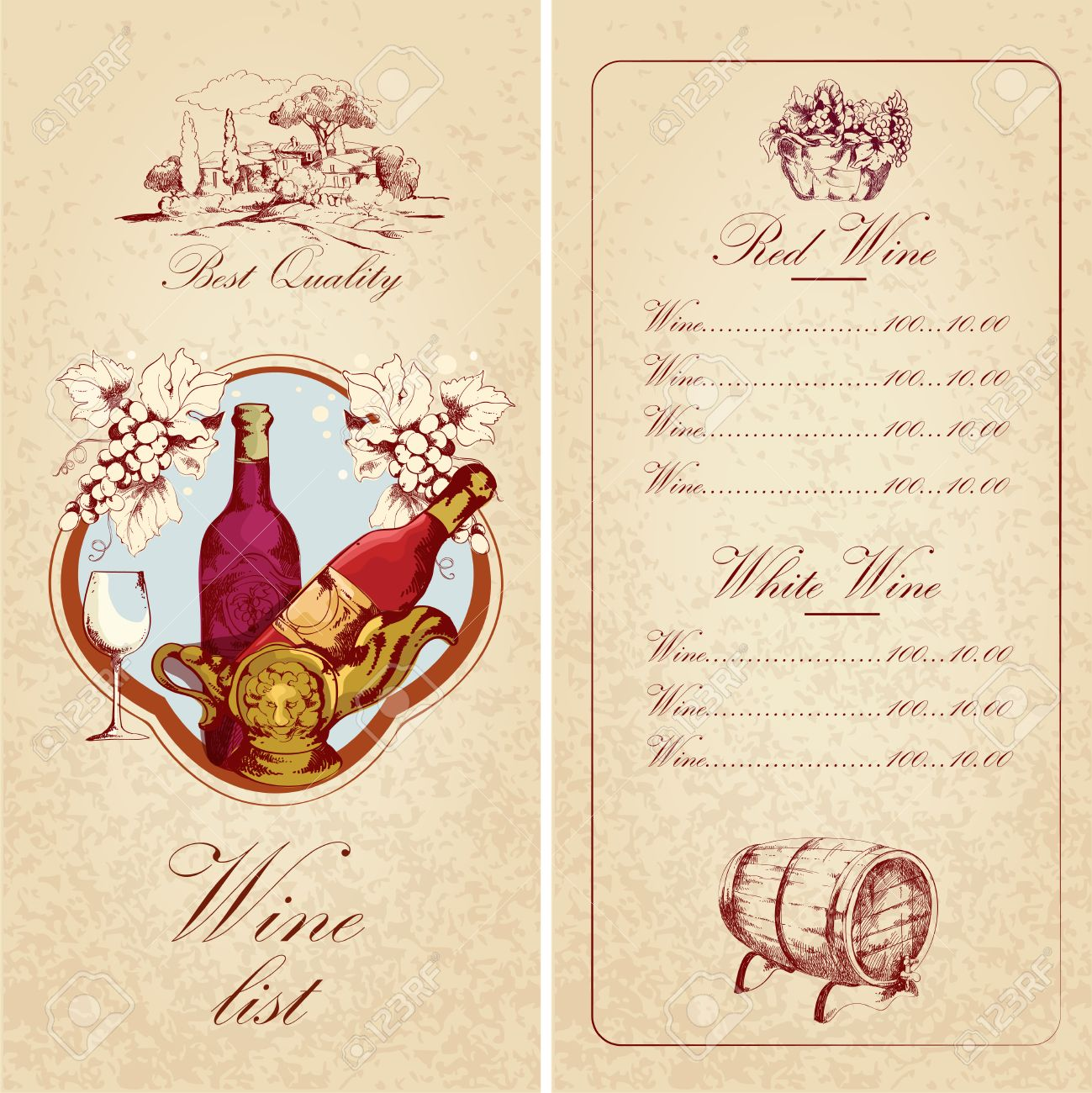 Vintage restaurant best quality wine list card menu template vintage restaurant best quality wine list card menu template vector illustration stock vector 27942311 pronofoot35fo Gallery