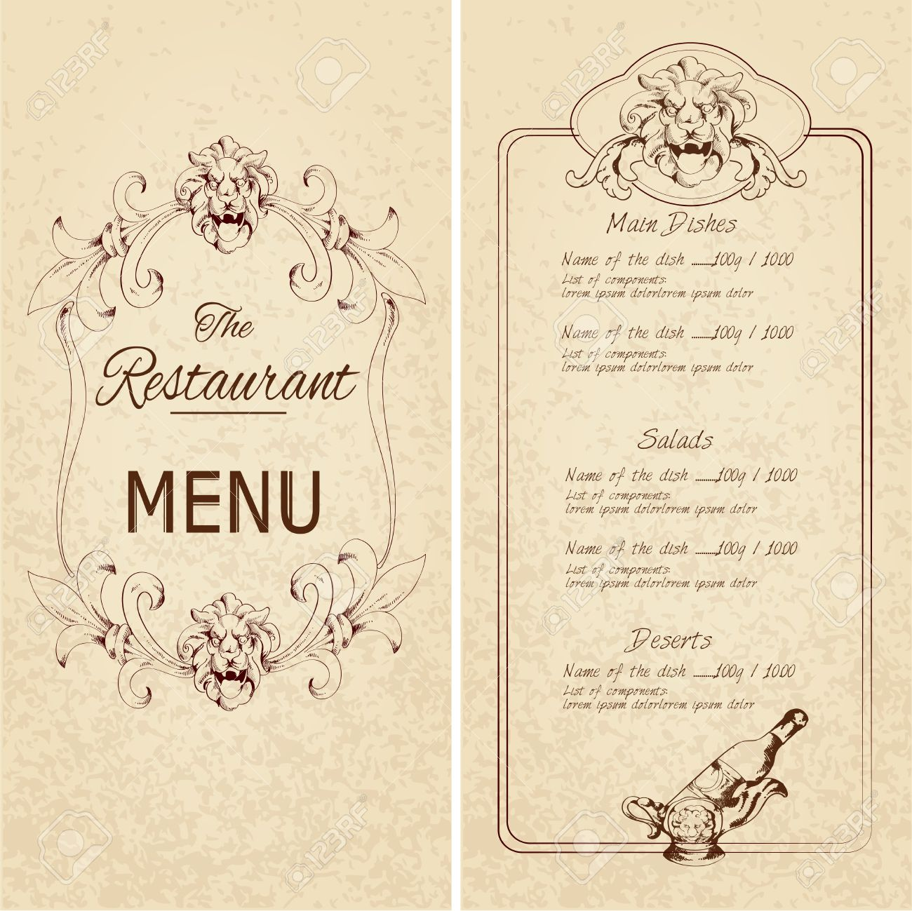 Retro Vintage Restaurant Menu Template With Lion And Wine Bottle ...