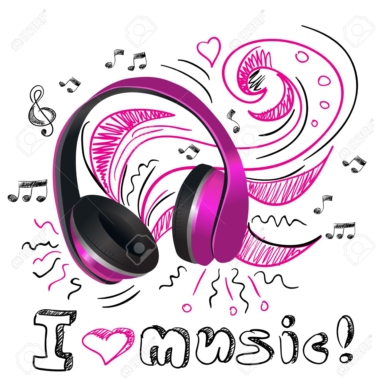 Auriculares Inalámbricos Púrpuras Con Las Notas Del Doodle Y