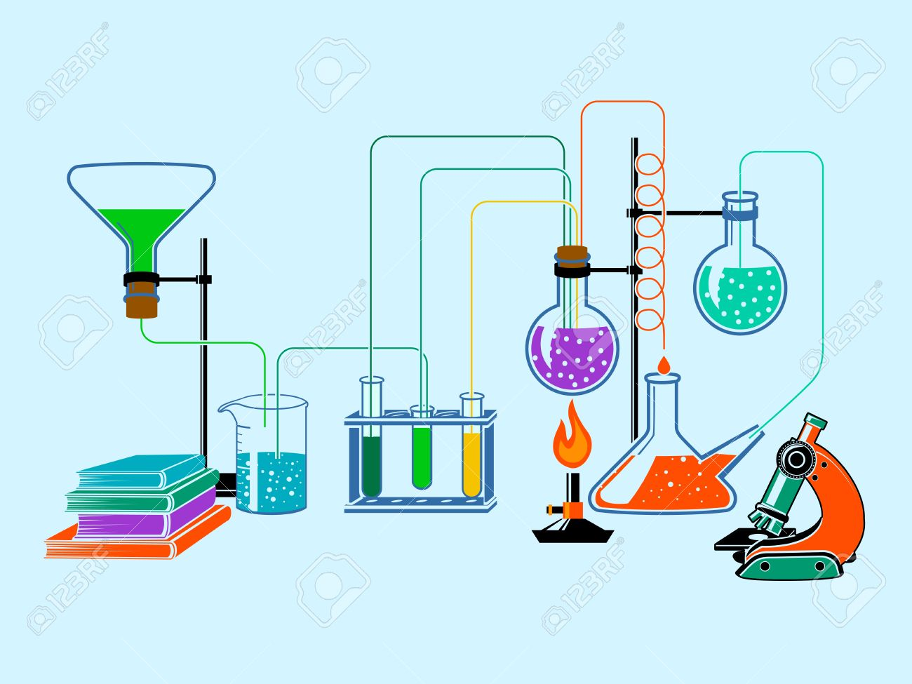 Scientific Chemistry Physics Research Education Laboratory Equipment Flat Design Elements Background Vector Illustration Stock