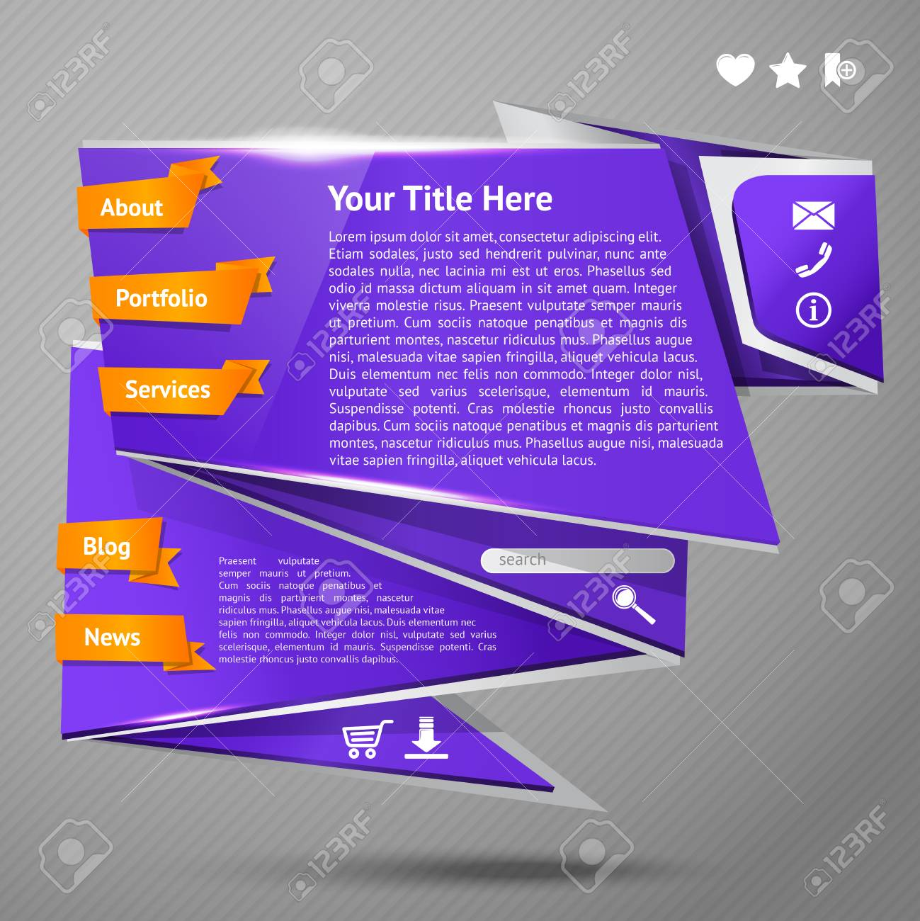 Blue original origami paper website page design template vector illustration Stock Vector - 28136920