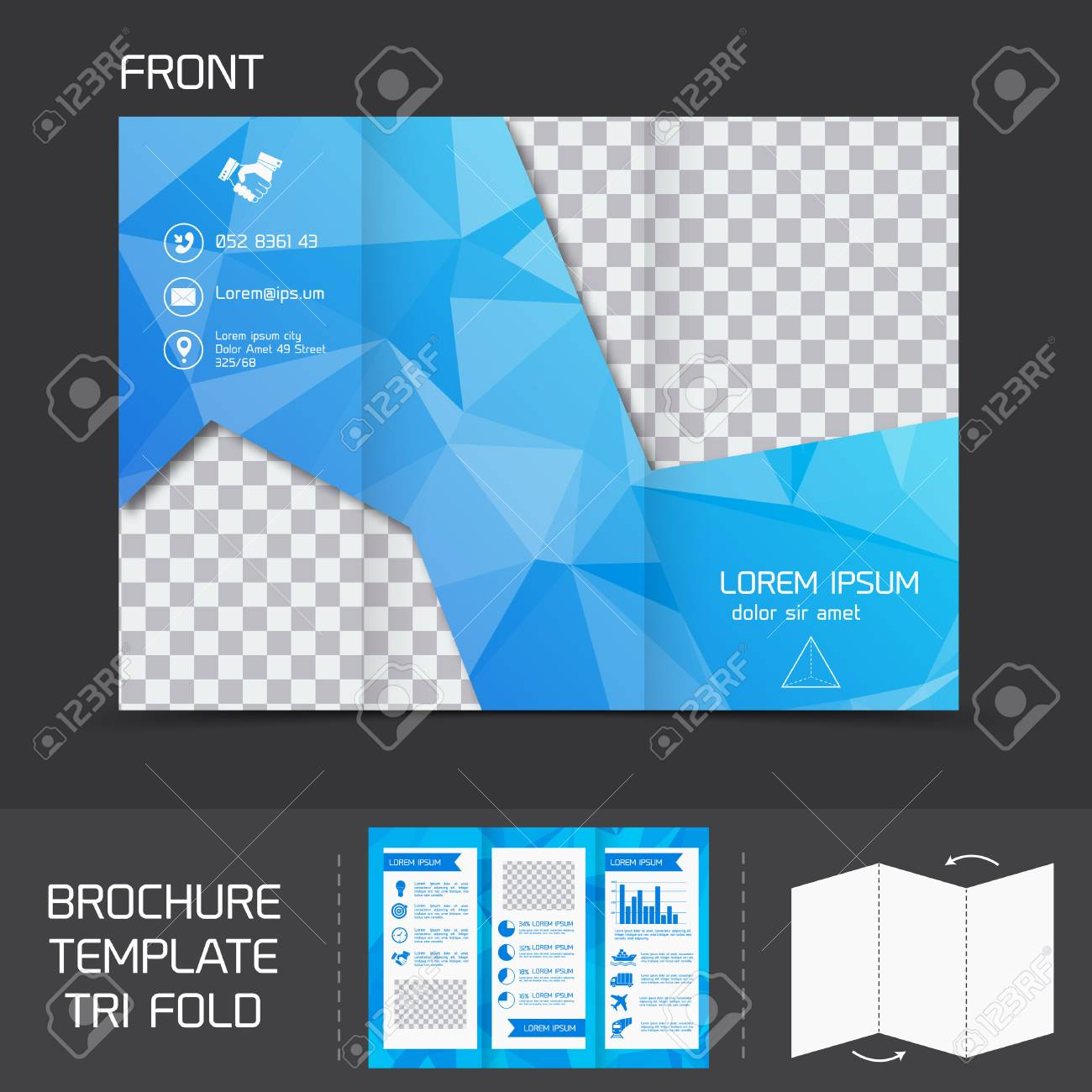 Blue Technology Brochure Leaflet Design Template Tri Fold Marketing Flyer  Vector Illustration Stock Vector