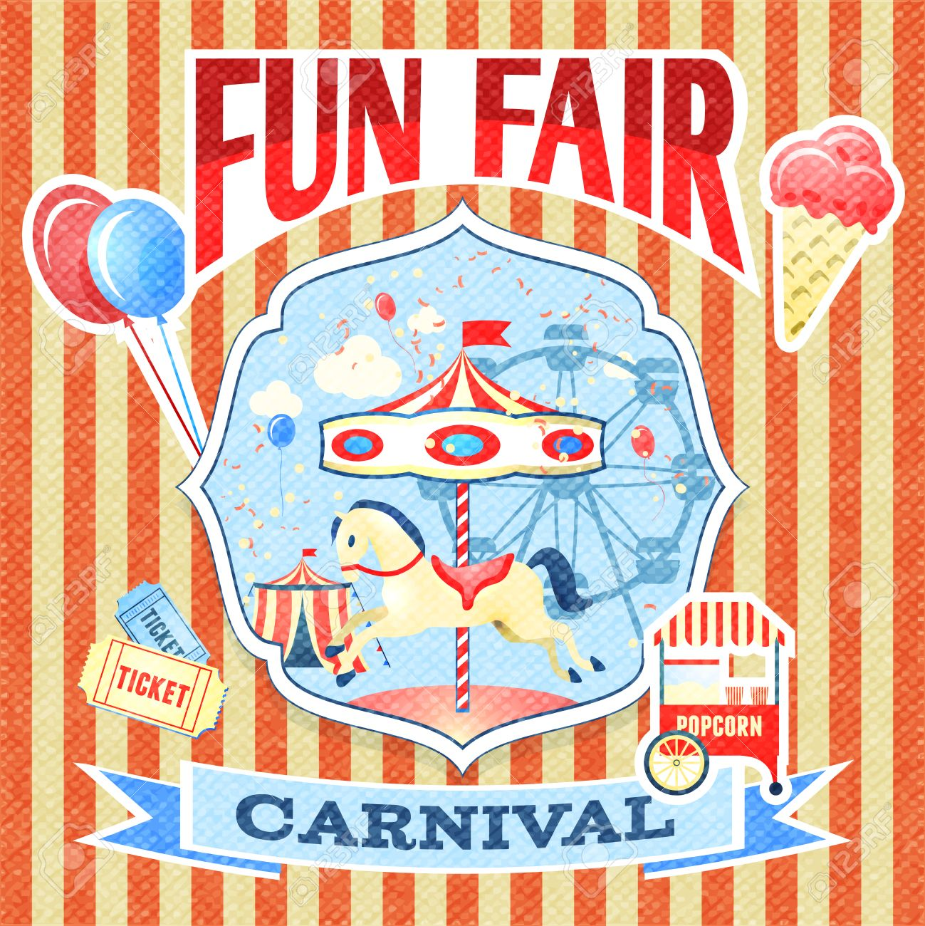 Vintage Carnival Fun Fair Theme Park Poster Template Vector