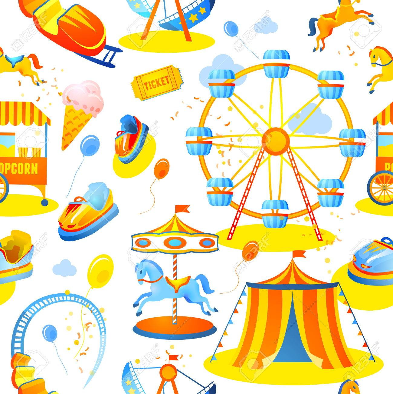 Amusement Entertainment Park Seamless Pattern With Tent Cars ...
