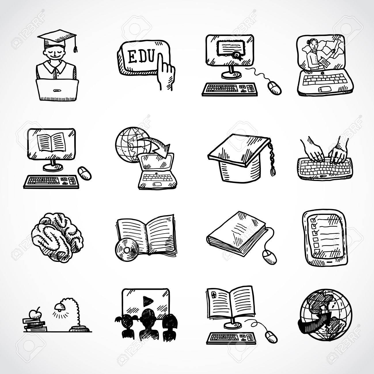 online education learning knowledge and experience icons sketch