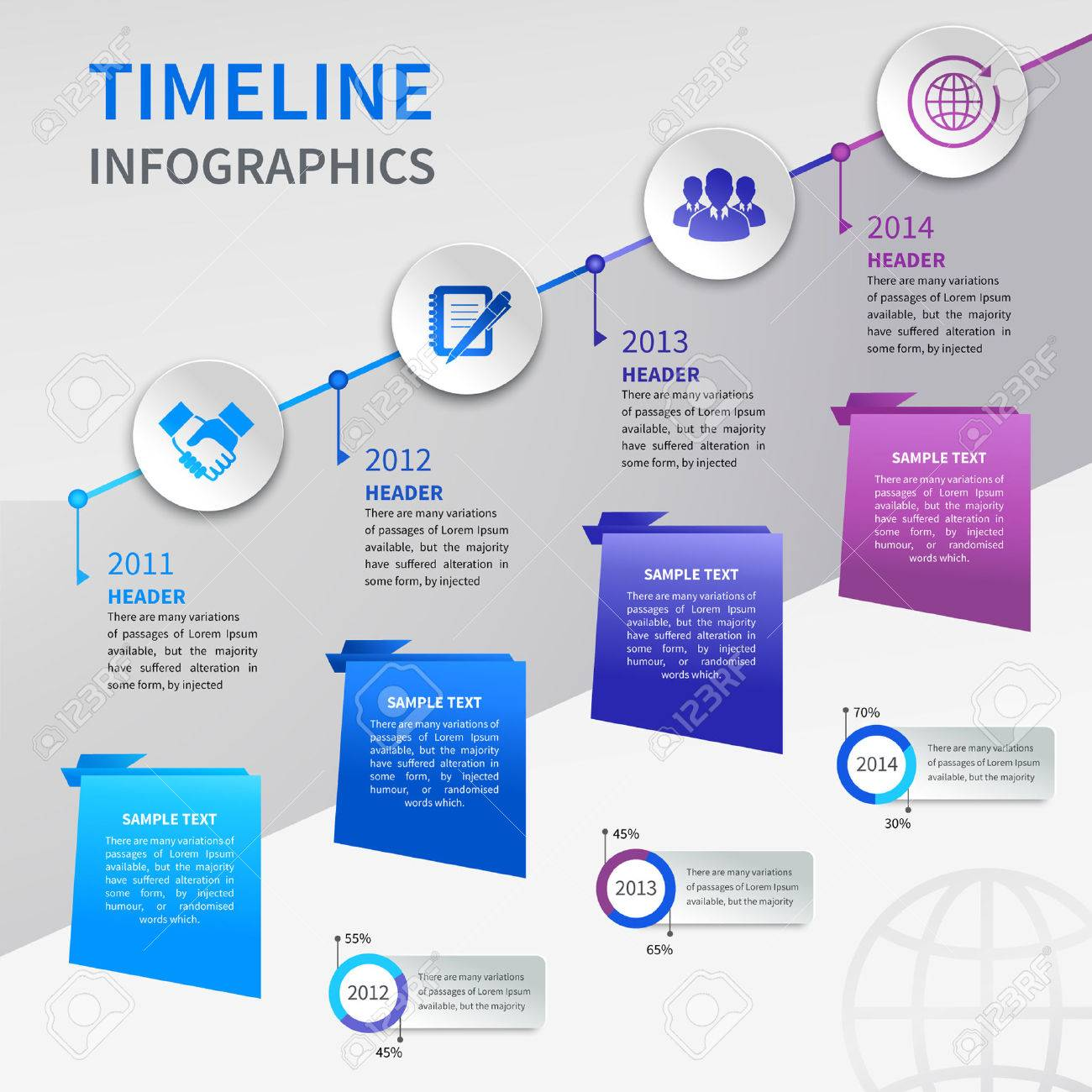 Abstract Paper Timeline Infographics Design Template With Ladder ...