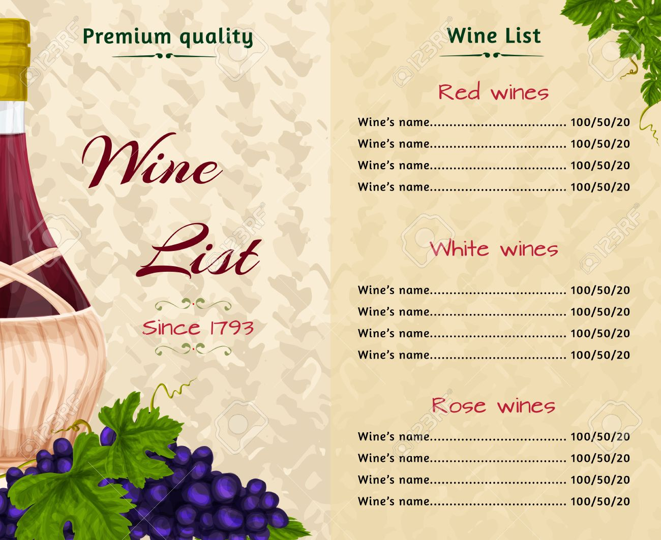 Vintage Restaurant Premium Quality Wine List Card Menu Template Vector  Illustration Stock Vector   28493259  Free Wine List Template
