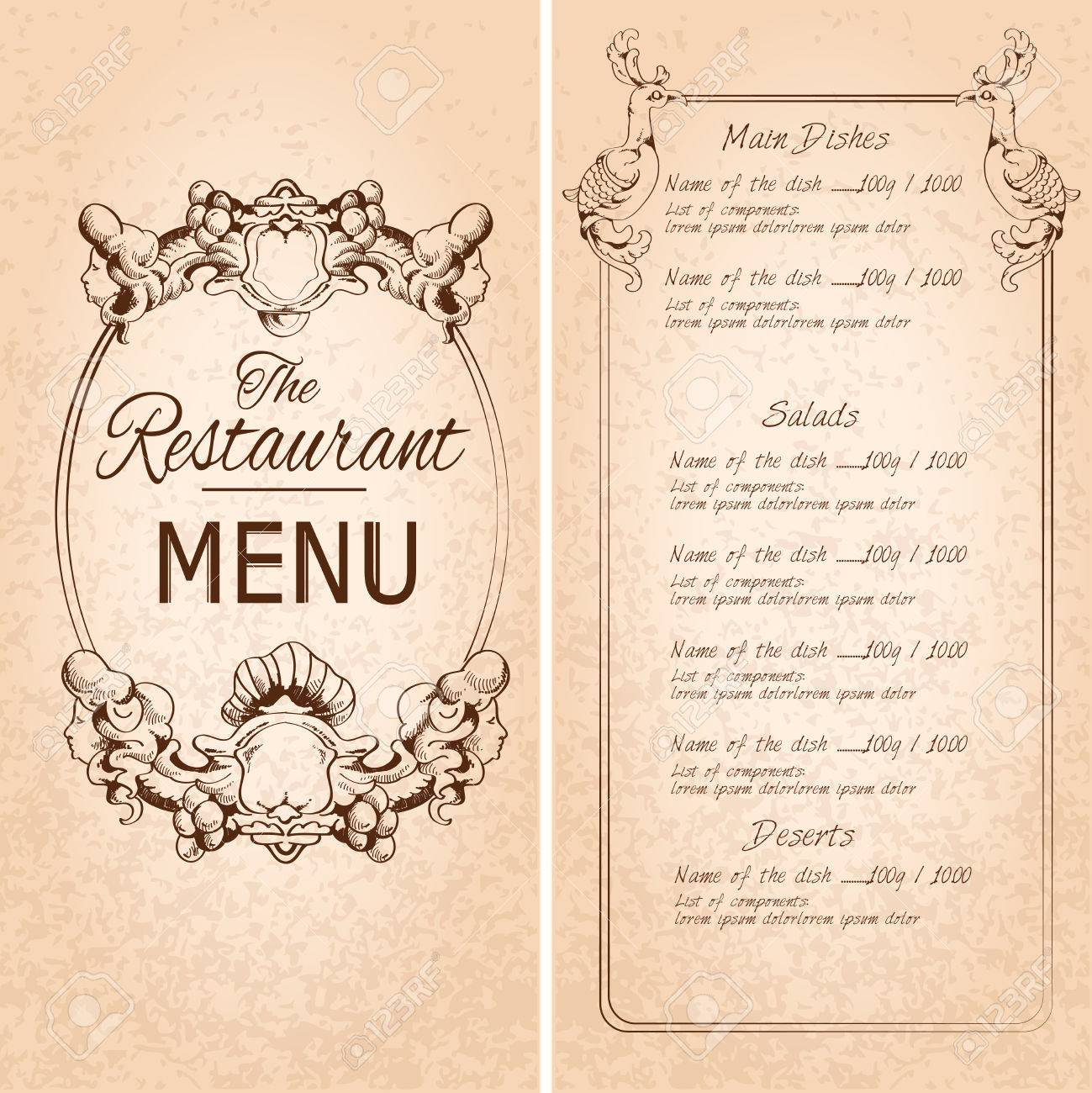 Retro Vintage Restaurant Menu Template With Frame And Decoration ...