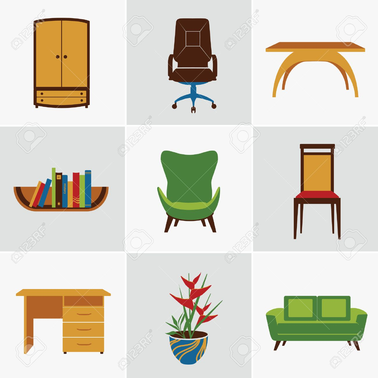 flat furniture. Furniture Flat Decorative Icons Set Of Chair Bookshelf Table Isolated Vector Illustration Stock - 28494203