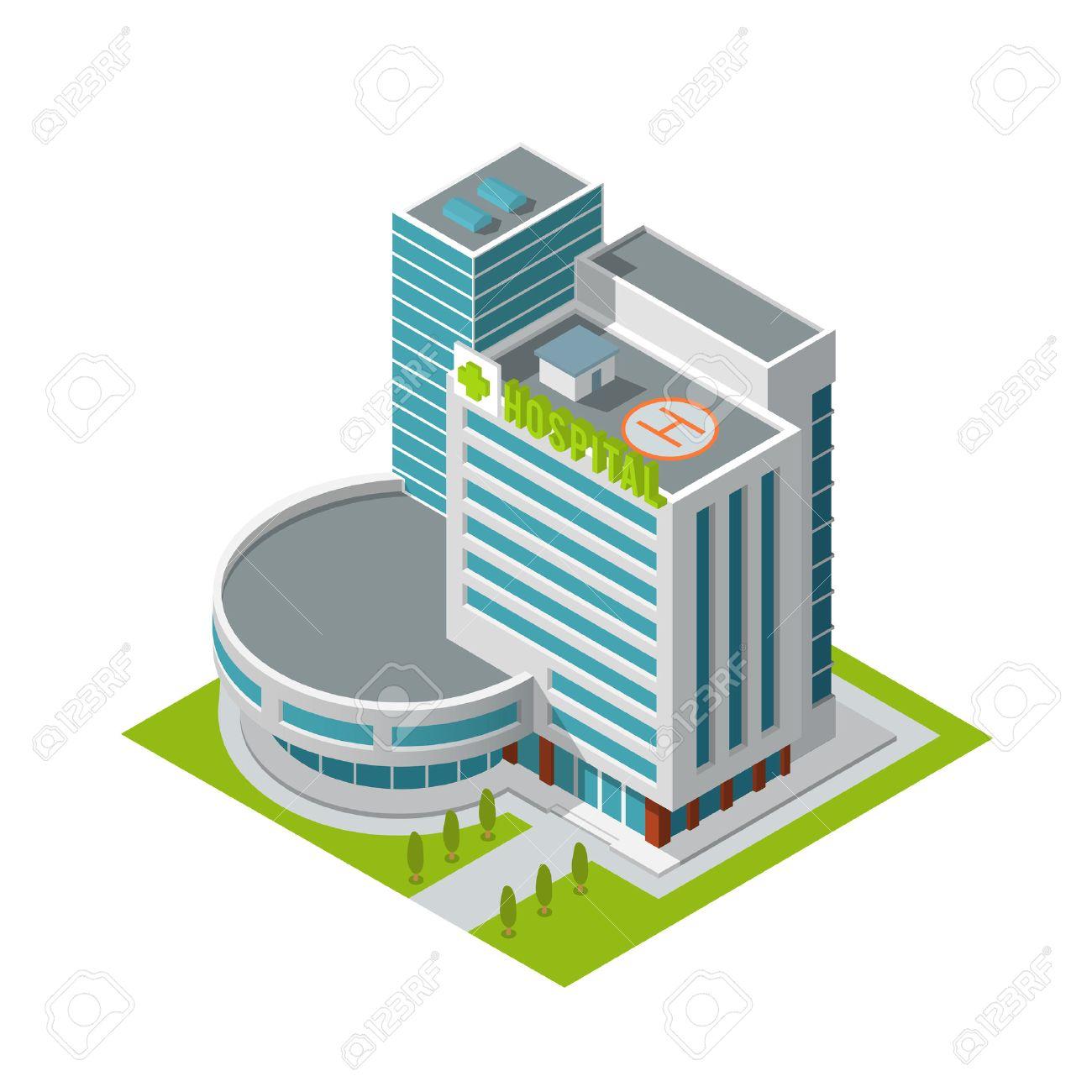 btiment de lhpital moderne 3d urbain avec hliport sur le toit isol isomtrique illustration - Hapital Moderne