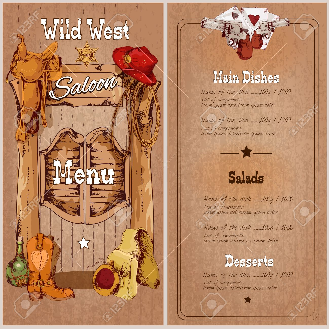 Wild West Saloon Restaurant Menu Template With Saddle Cowboy ...