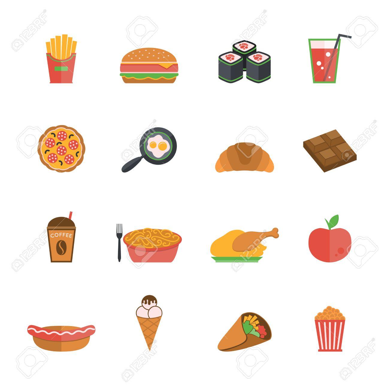 Fast Junk Food Icons Flat Set