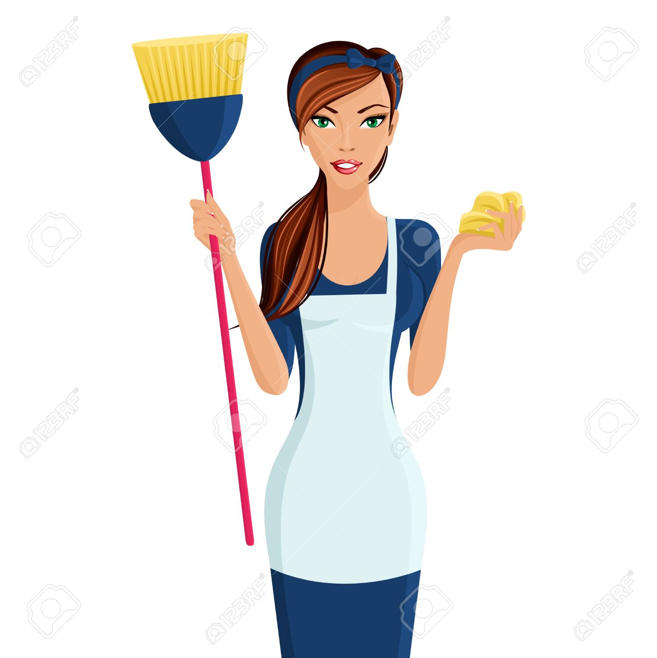 Woman cooking vector images amp pictures becuo - Apron Young Beautiful Cleaning Lady Professional Standing In Apron With Broom And Dustcloth In Hands