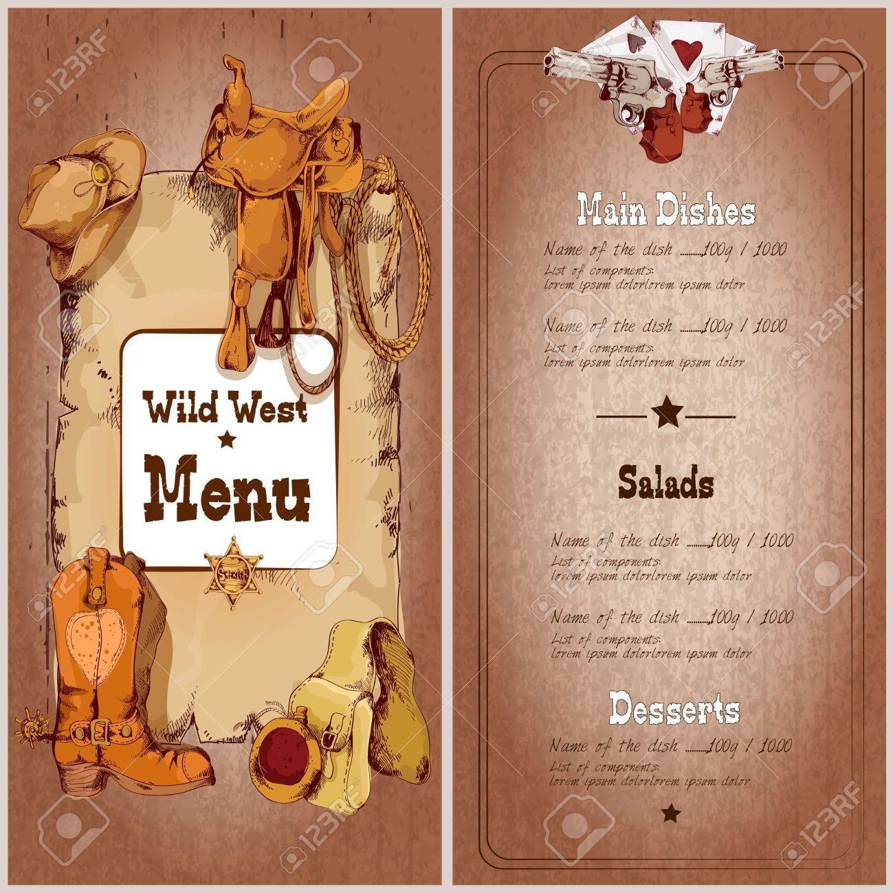 Wild-West-Restaurant-Menü-Vorlage Mit Cowboy-Elemente Vektor ...