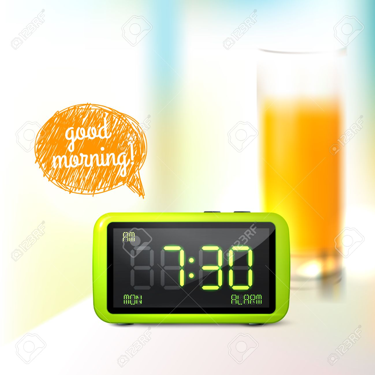 Realistic digital alarm clock with lcd display and glass of orange juice good morning background vector illustration Stock Vector - 28799577