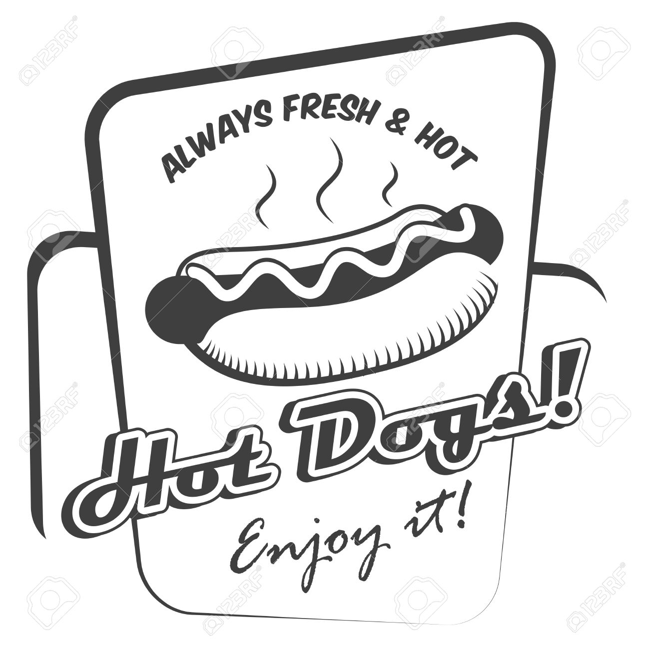 drawing hot dog fresh fast food enjoy black and white poster template vector illustration stock vector