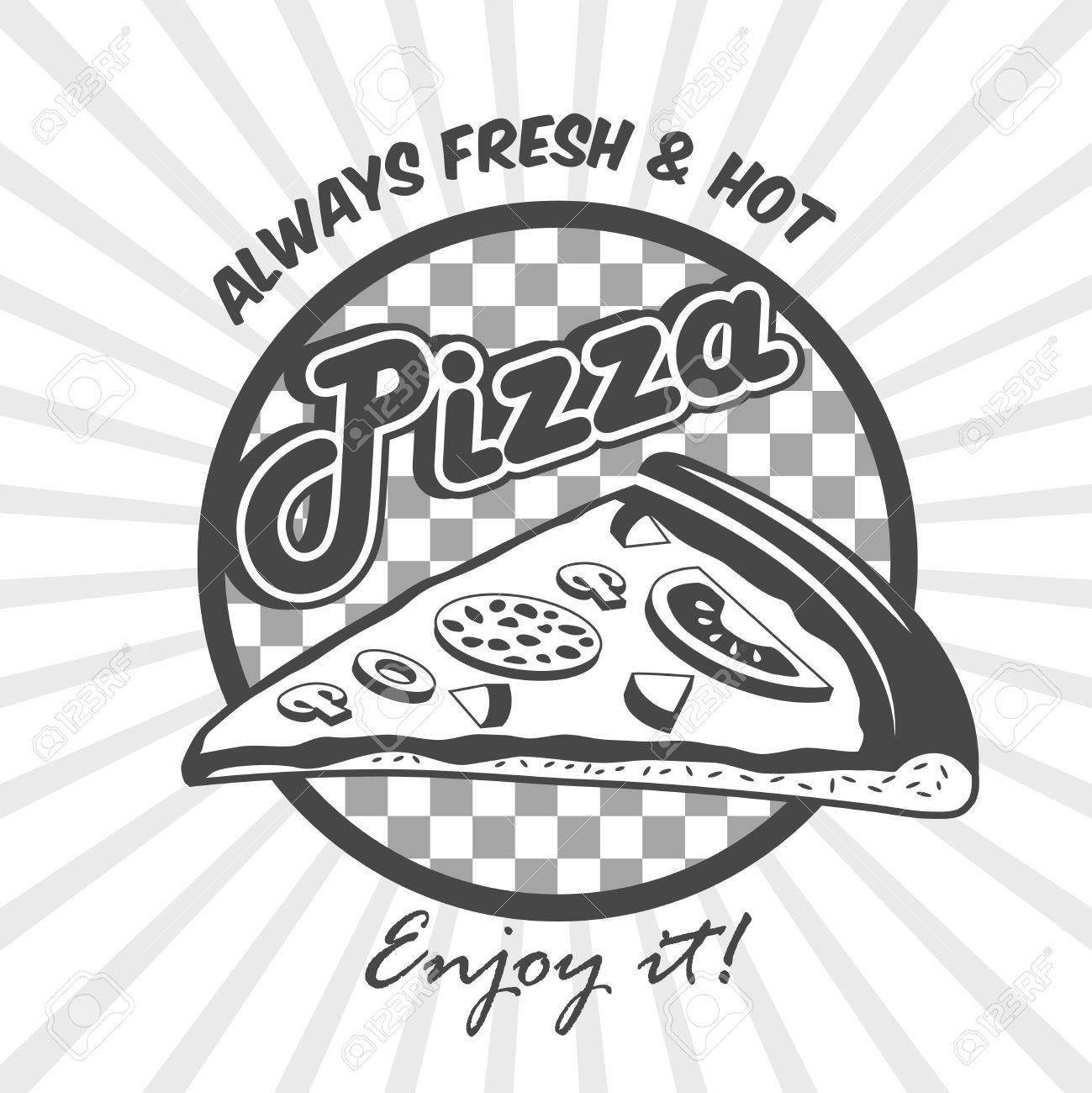 Pizzeria Werbung Frische Heiße Genießen Poster Mit Pizza Scheibe