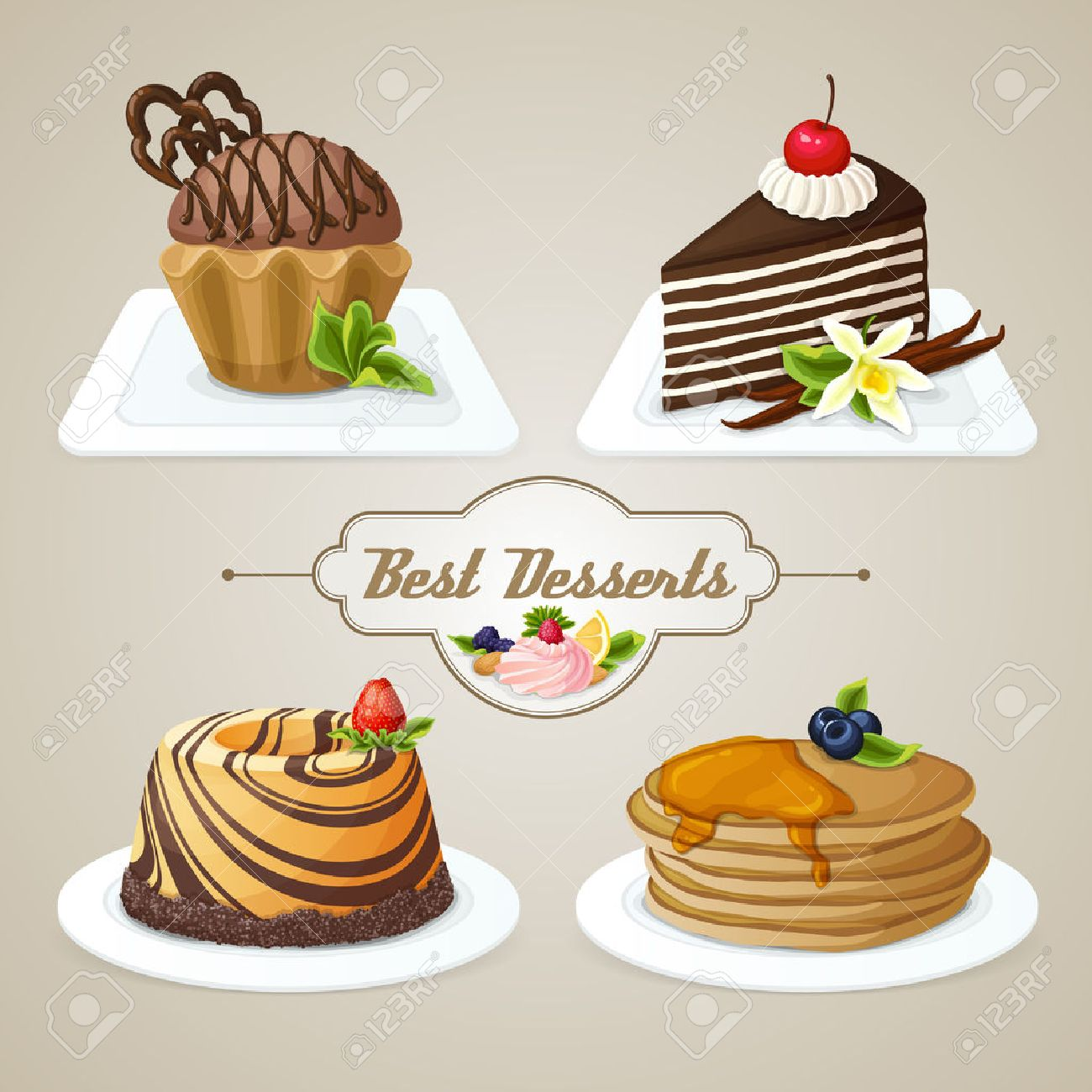 Decorative sweets food dessert set of muffin pan layered cake brioche vector illustration Stock Vector - 29446996