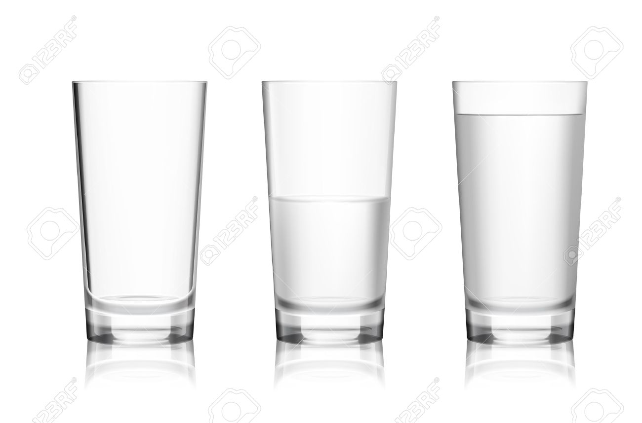 Realistic full half-full and empty glass with mineral water isolated on white background vector illustration - 29451609