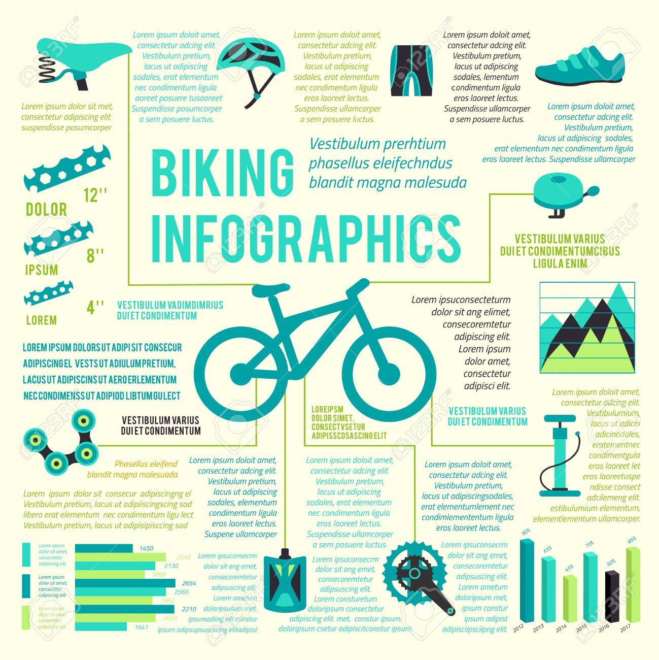 Bicycle Bike Sport Fitness Icons Infographic Set With Charts ...