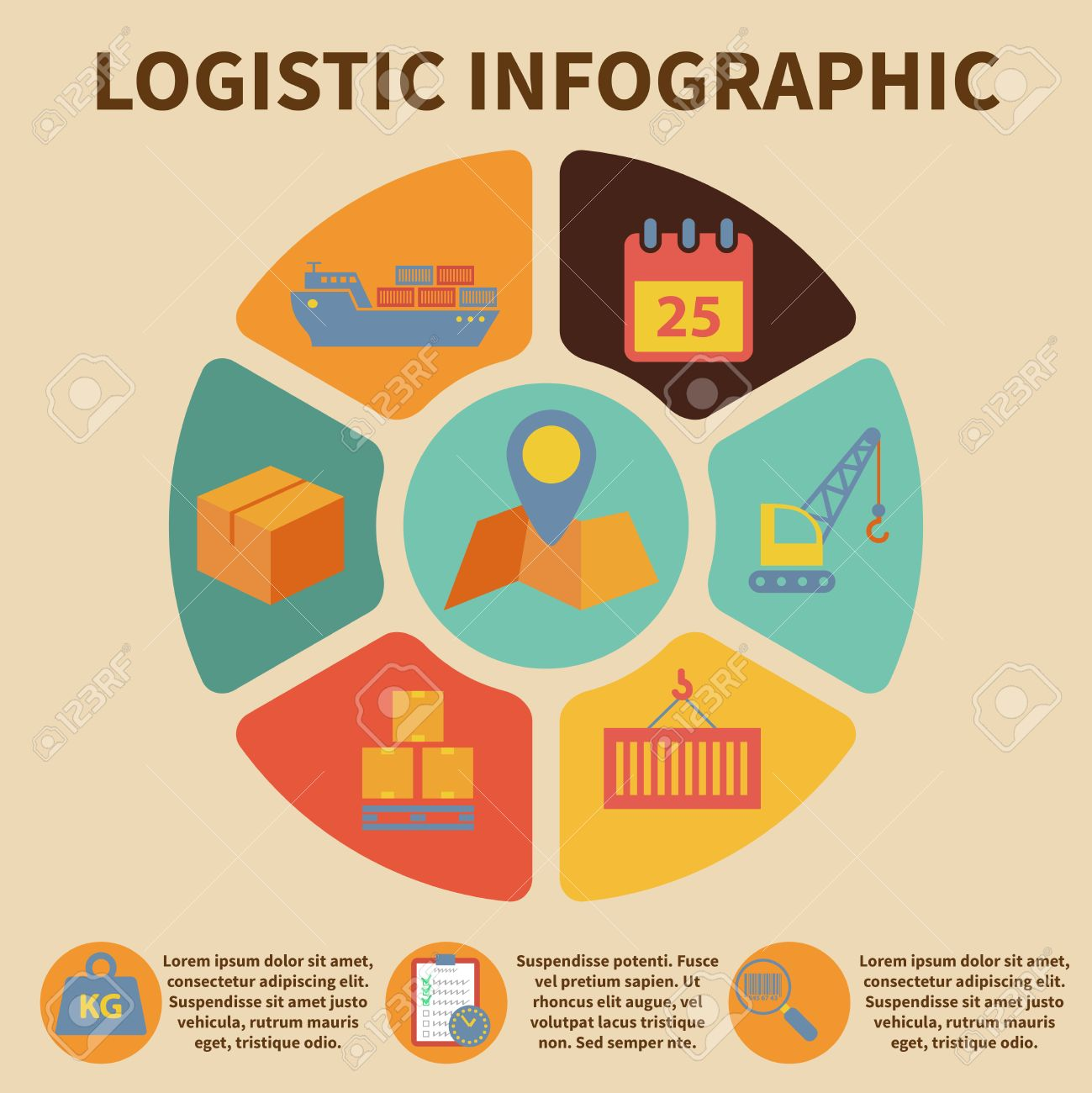logistic freight service infographic icons set on pie chart vector