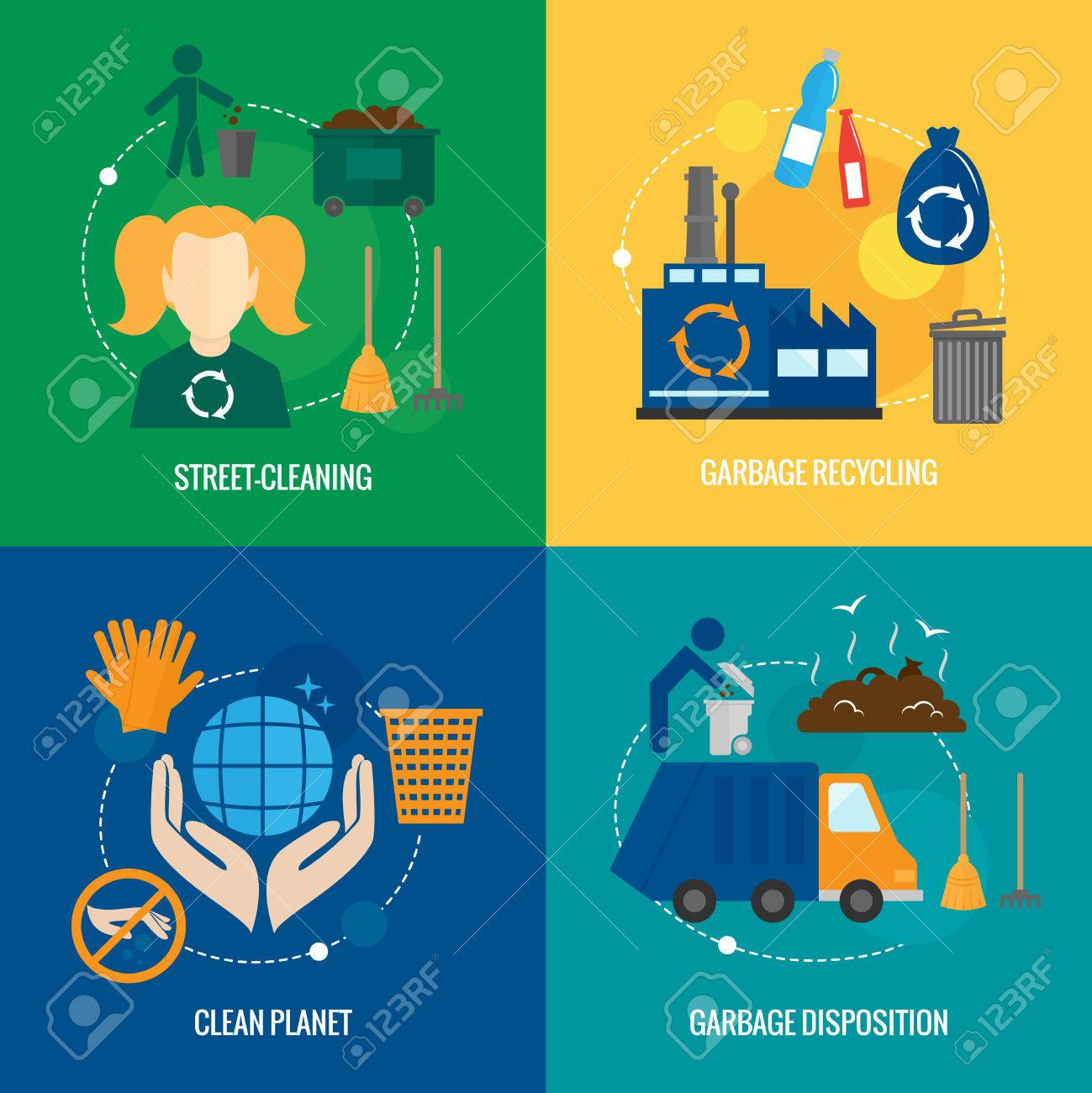 Garbage disposition street cleaning recycling icons set isolated vector illustration Stock Vector - 29453344