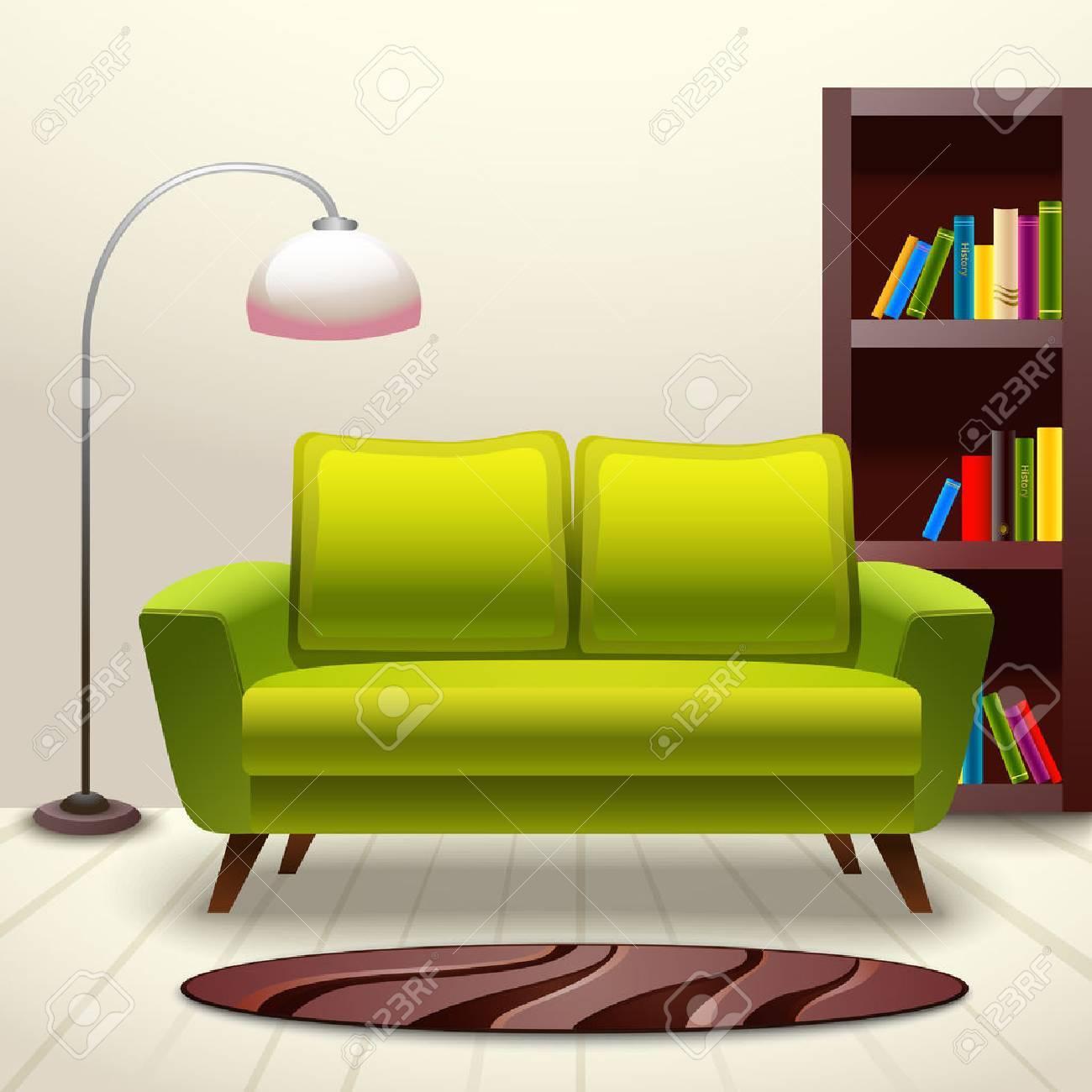 Interior Indoor Living Room Design With Sofa Lamp And Bookshelf Vector Illustration Stock