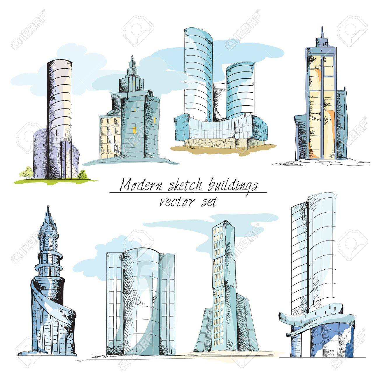 Modern Urban Sketch Building With Architectural Elements Isolated Vector Illustration Stock