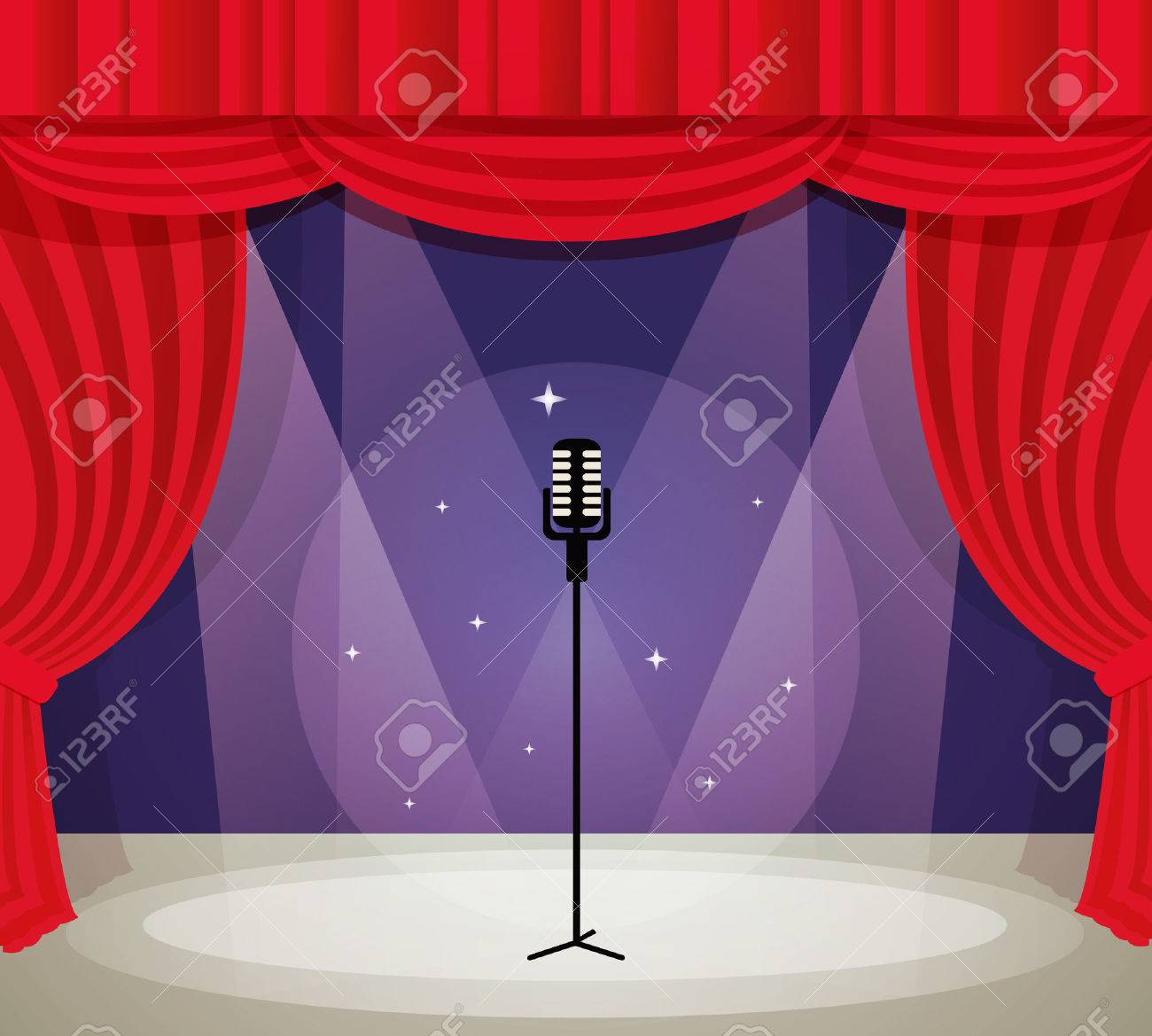 Red curtain spotlight - Stage With Microphone In Spotlight With Red Curtain Background Vector Illustration Stock Vector 29454865