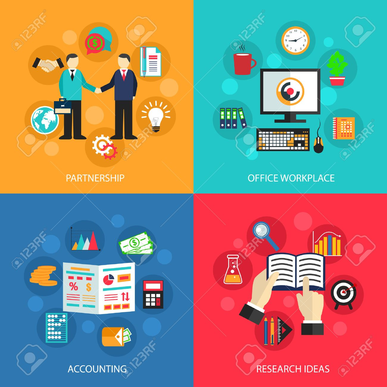 Business Concept Flat Icons Set Of Partnership Office Meeting ...
