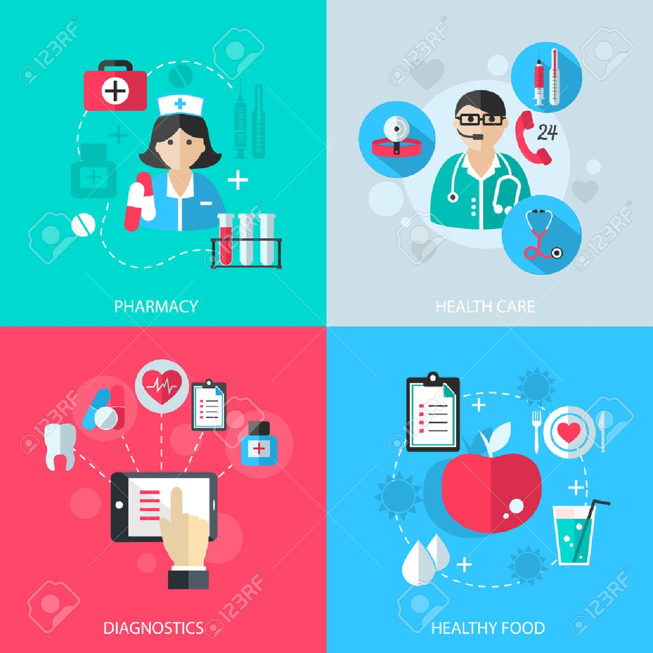 Medicine healthcare services concept flat icons set of medical technology pharmacy diagnostics and healthy nutrition food for infographics design web elements vector illustration Stock Vector - 29454937