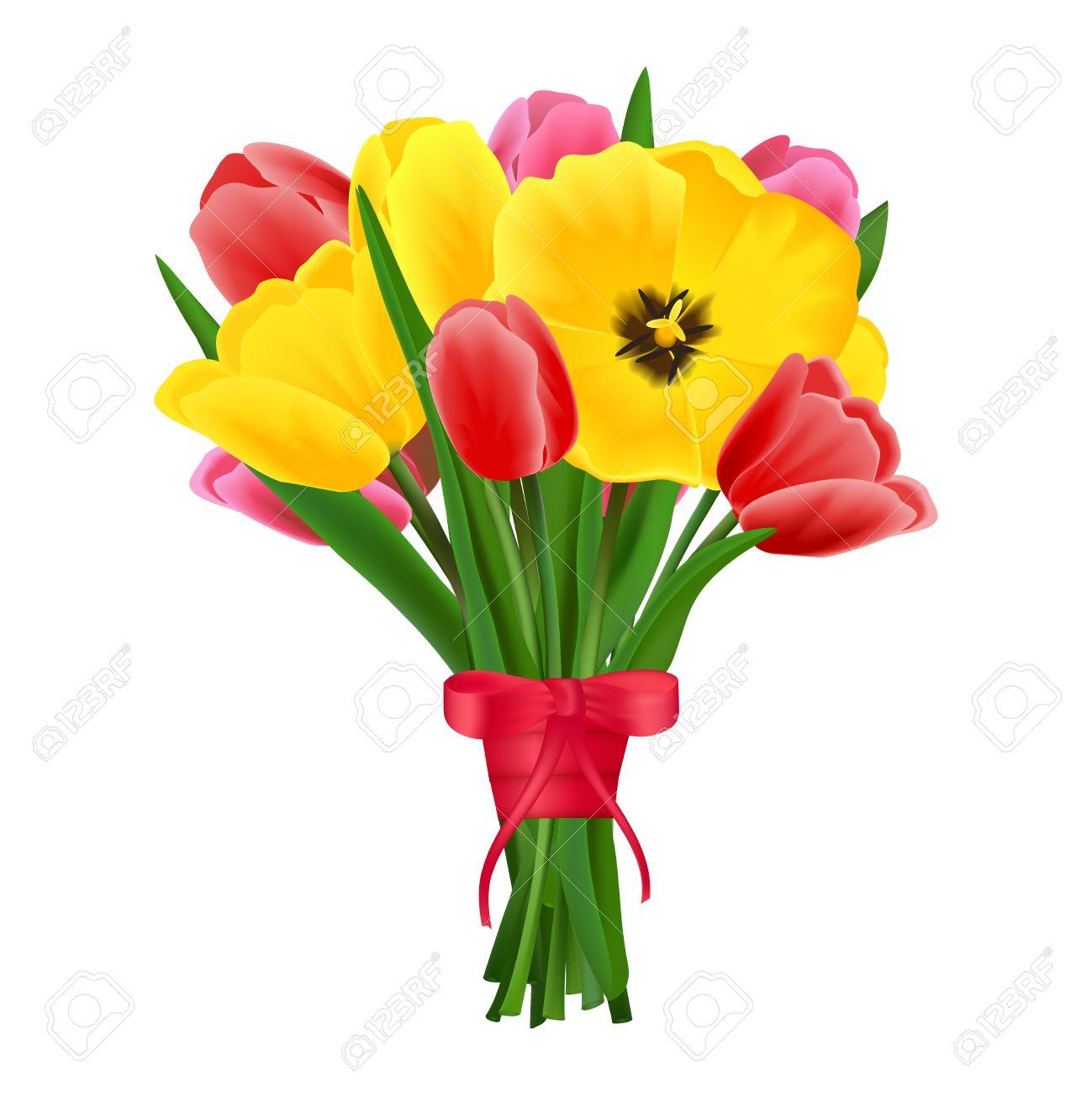 Banque d\u0027images , Multicolore belle floraison tulipe fleurs bouquet de  fleurs vecteur réaliste illustration.