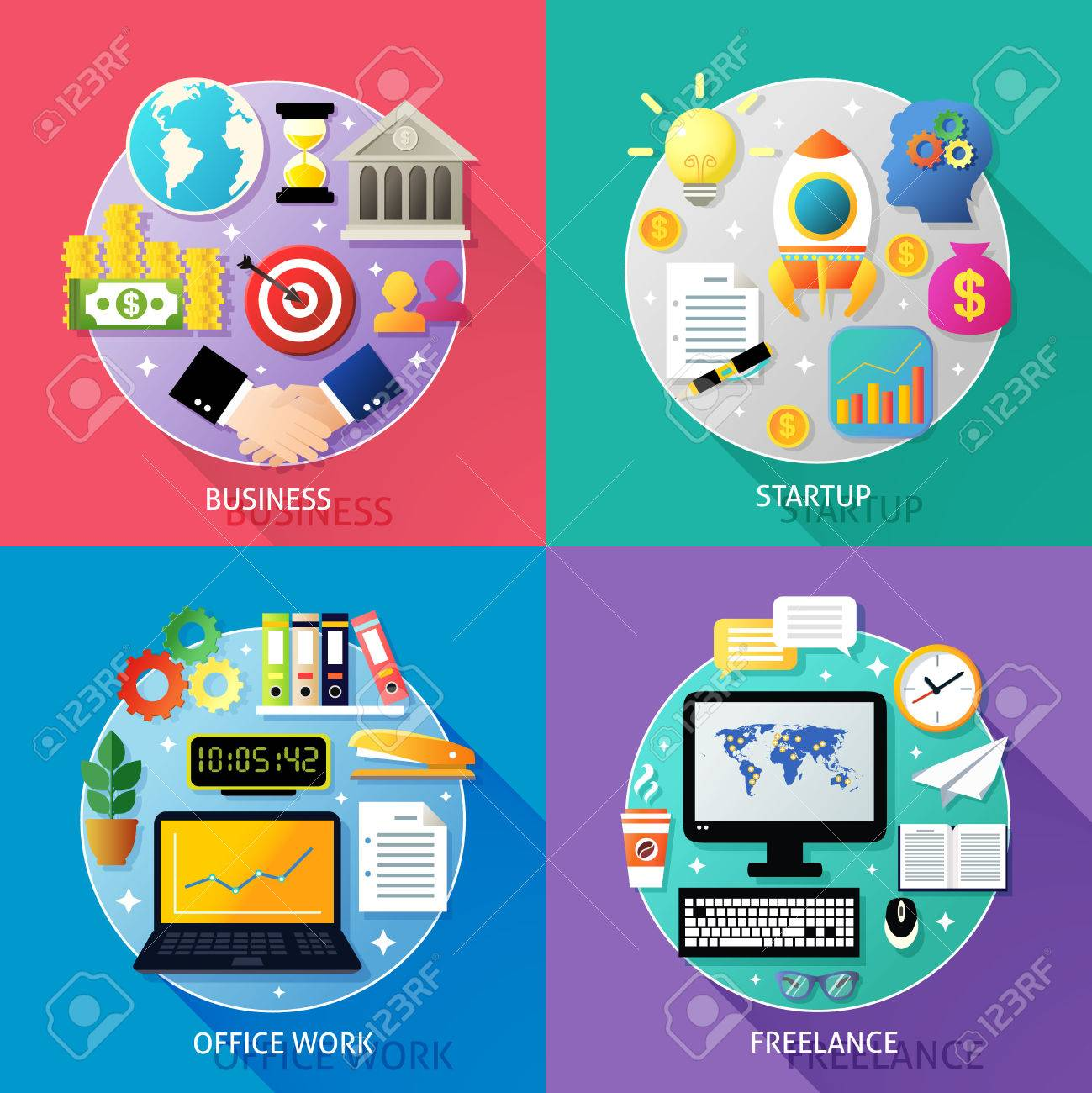 business types concept startup office work lance icons set business types concept startup office work lance icons set isolated vector illustration stock vector 29726711