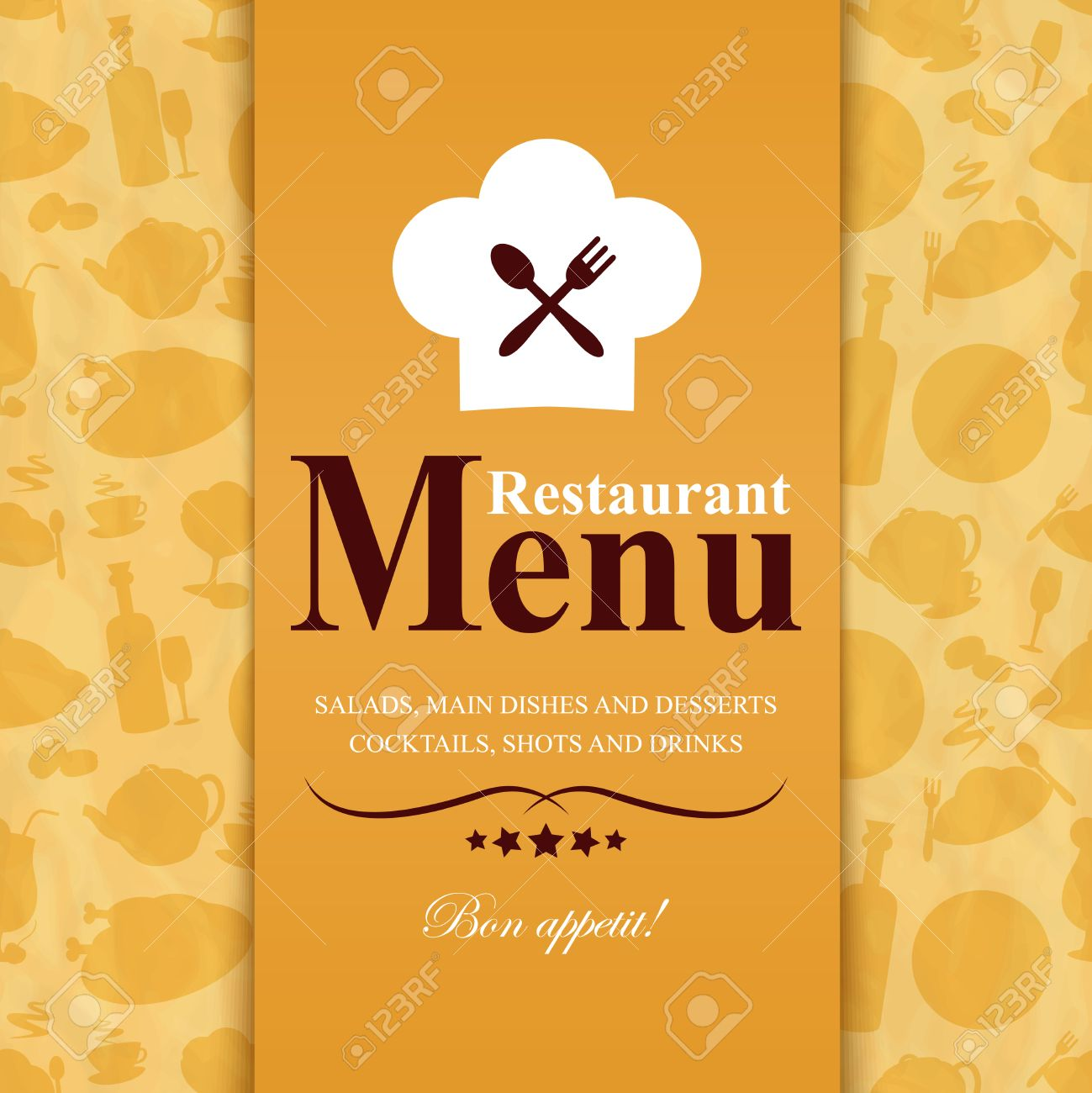 retro vintage restaurant menu template with food icons background
