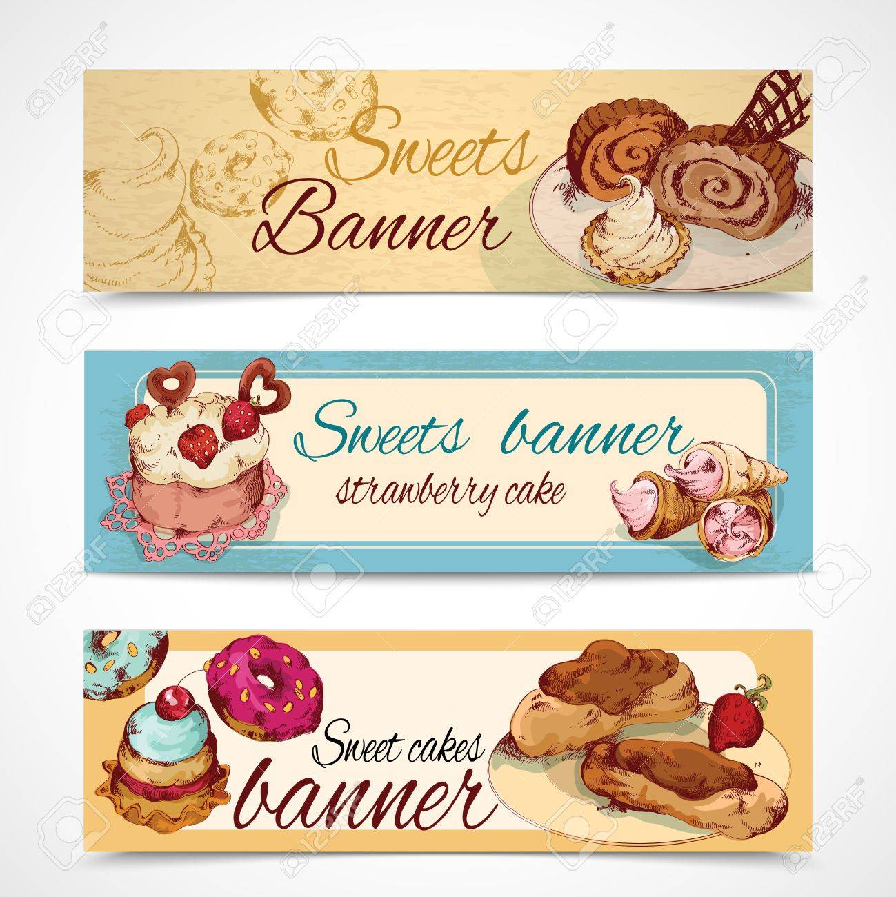 food sweets bakery and pastry sketch colored banners set isolated food sweets bakery and pastry sketch colored banners set isolated vector illustration stock vector 29817196