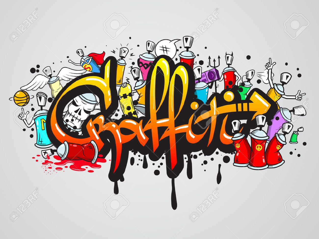 Decorative graffiti art spray paint letters and characters composition abstract wall artwork drawing sketch grunge vector