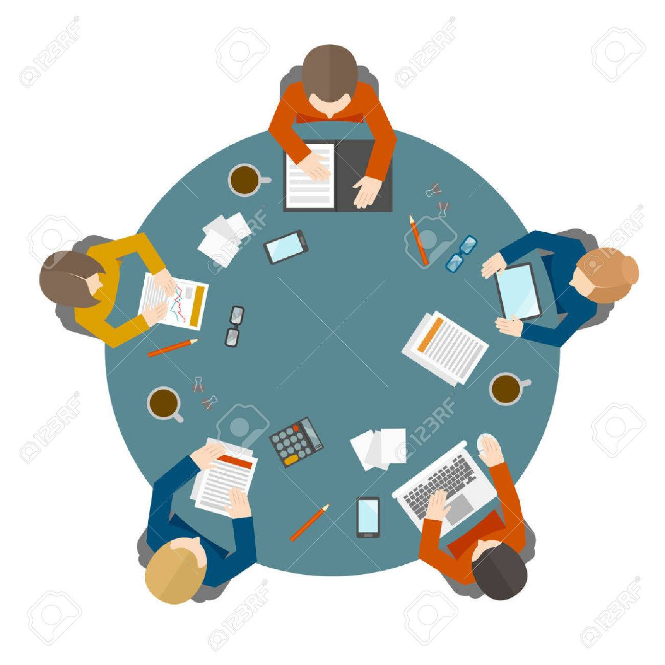 Round table meeting icon - Flat Style Office Workers Business Management Meeting And Brainstorming On The Round Table In Top View