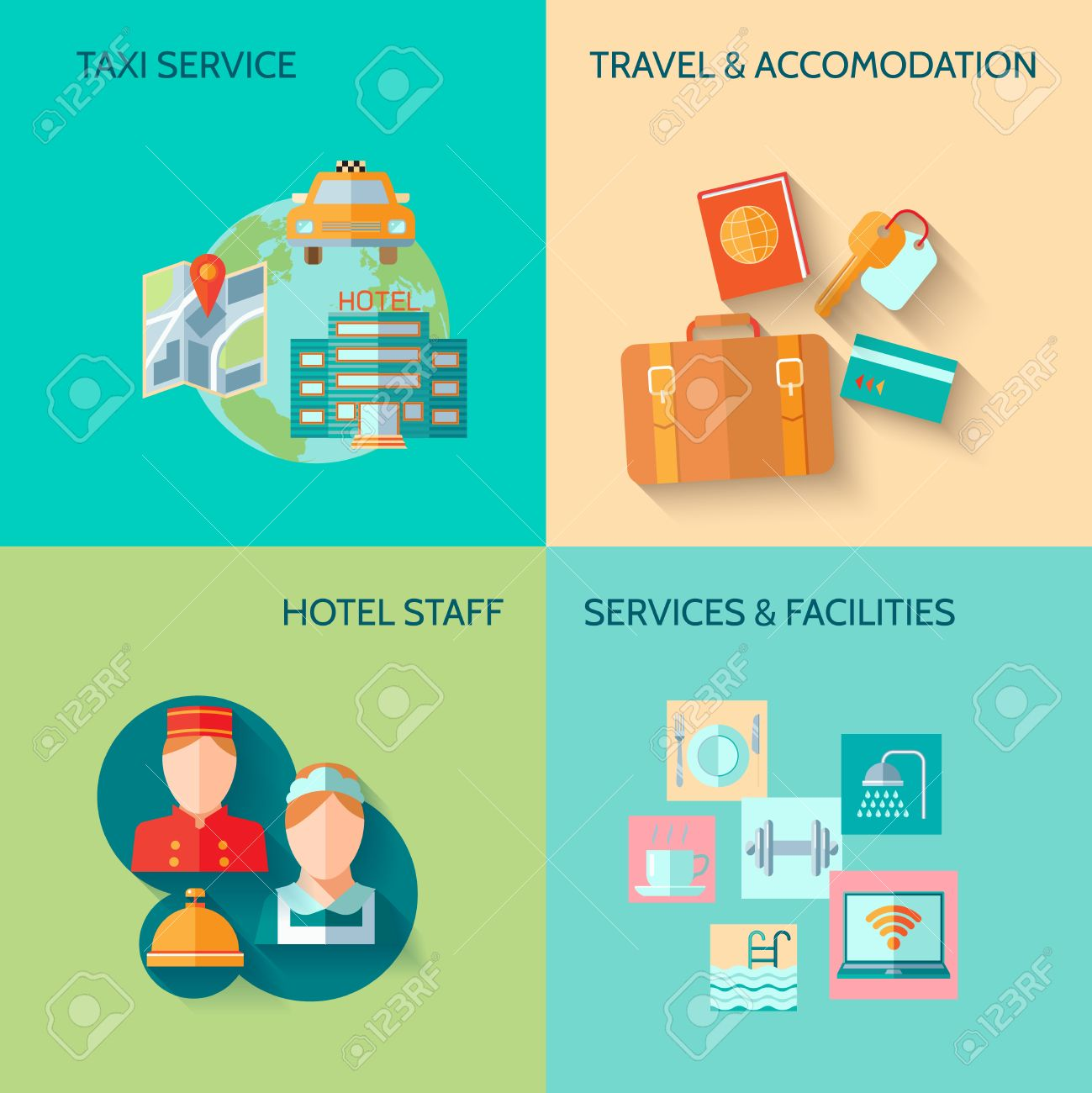 Travel Tourism Taxi Service Concept Flat Business Icons Set Of Hotel Staff Restaurant For Infographics Design