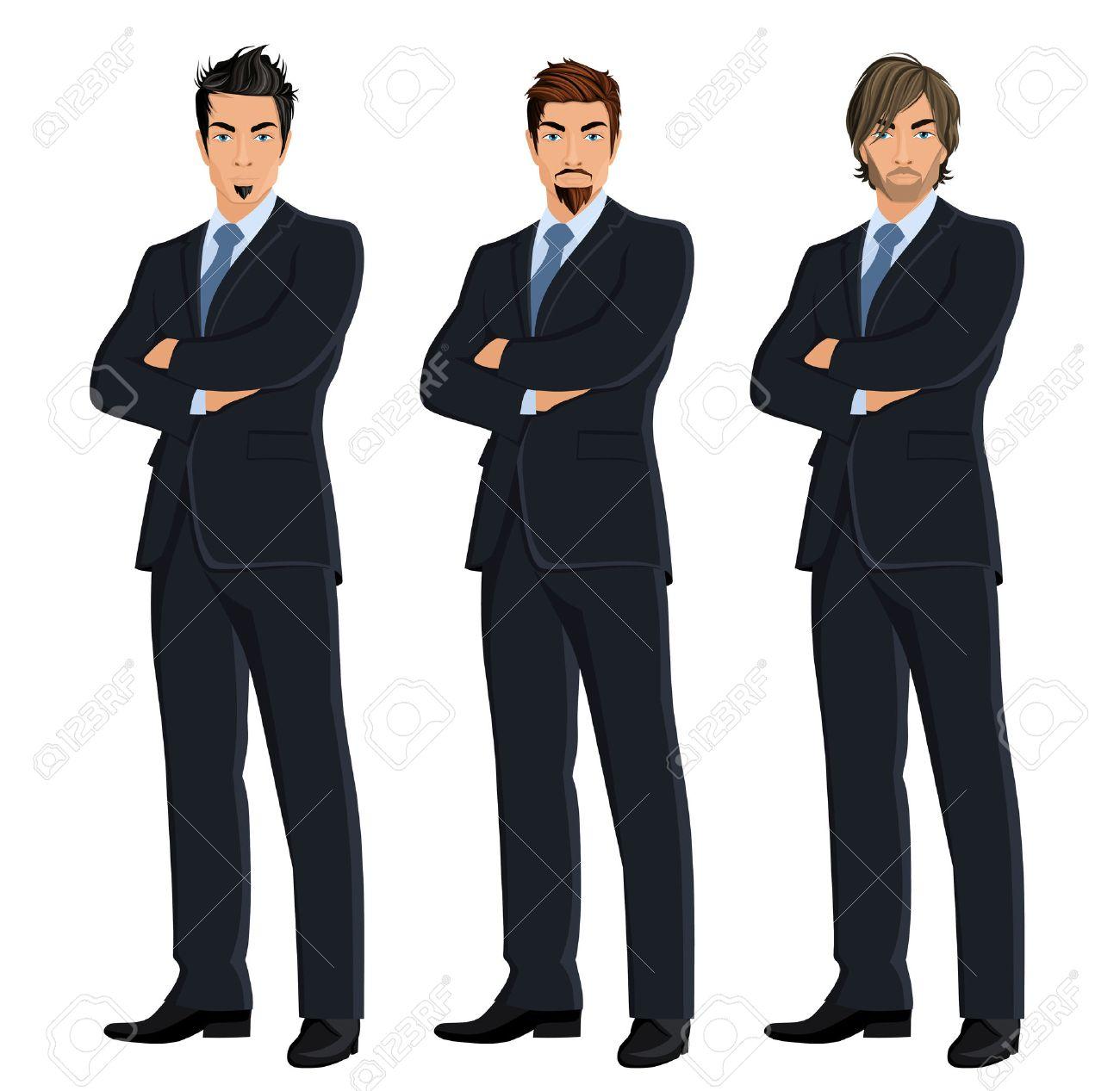 Set of full length body business man isolated on white background vector illustration - 30056768