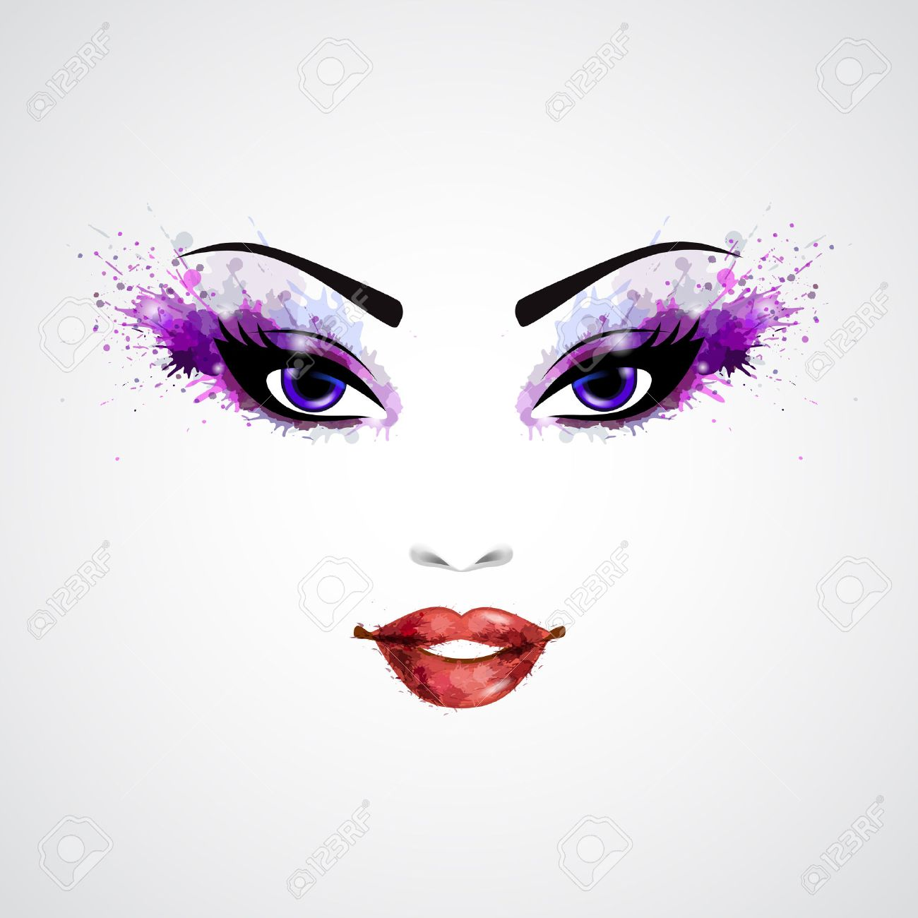 Fashion Abstract Woman Grunge Face With Purple Make-up ...