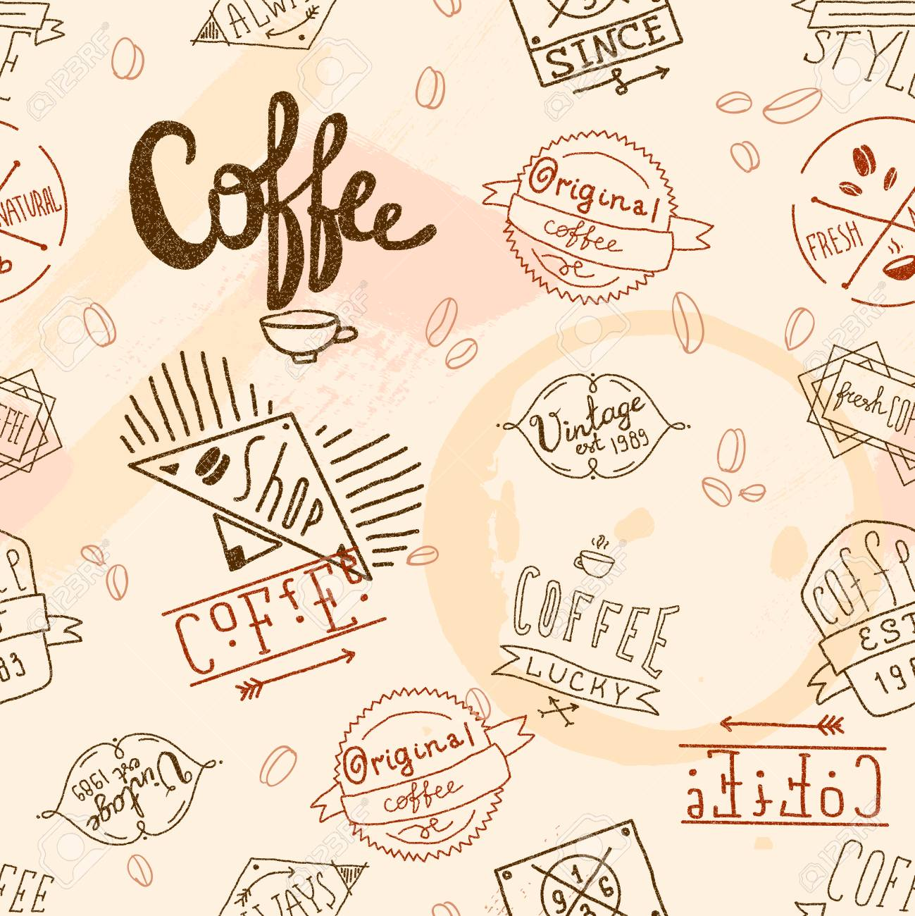 Vintage Retro Coffee Stamp Seamless Pattern For Cafe Restaurant Royalty Free Cliparts Vectors And Stock Illustration Image 30352400