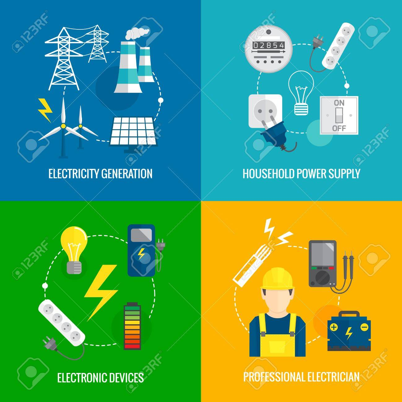 Electricity Energy Concept Flat Business Icons Set Of Household ...
