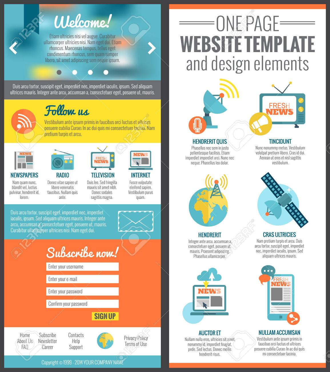 One Page Web Site Template For Mass Media Communication Industry ...