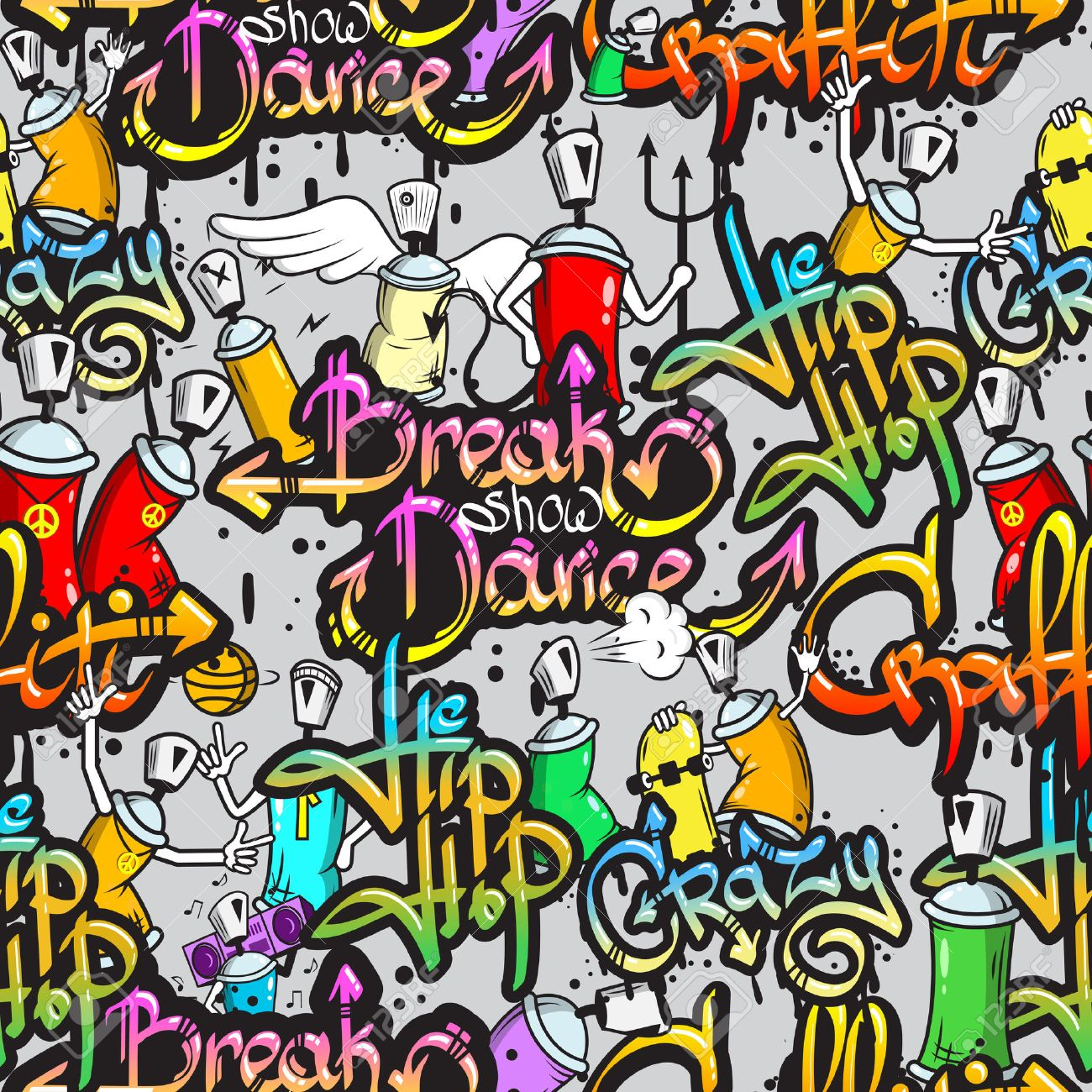 Graffiti Spray Paint Street Art Subculture Characters Letters Composition Design Seamless Colorful Pattern Sketch Grunge Vector