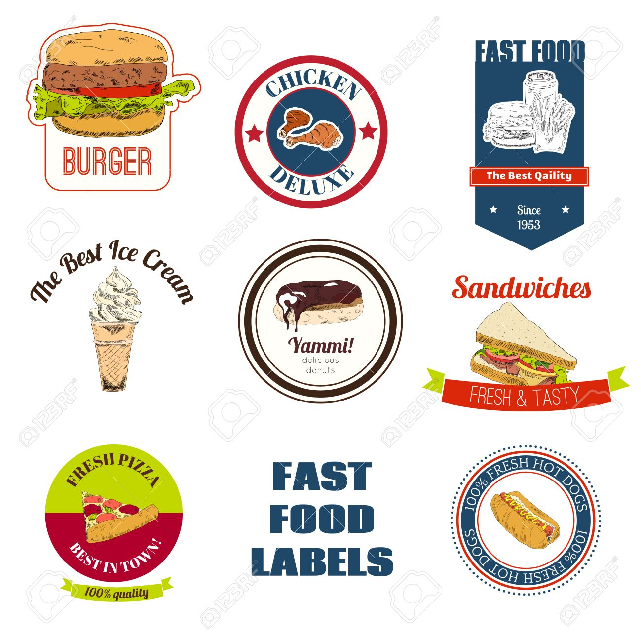 Decorative Fast Food Restaurants And Speed Service Shops Takeaway Chicken Pizza Hotdog Labels Collection Isolated Vector