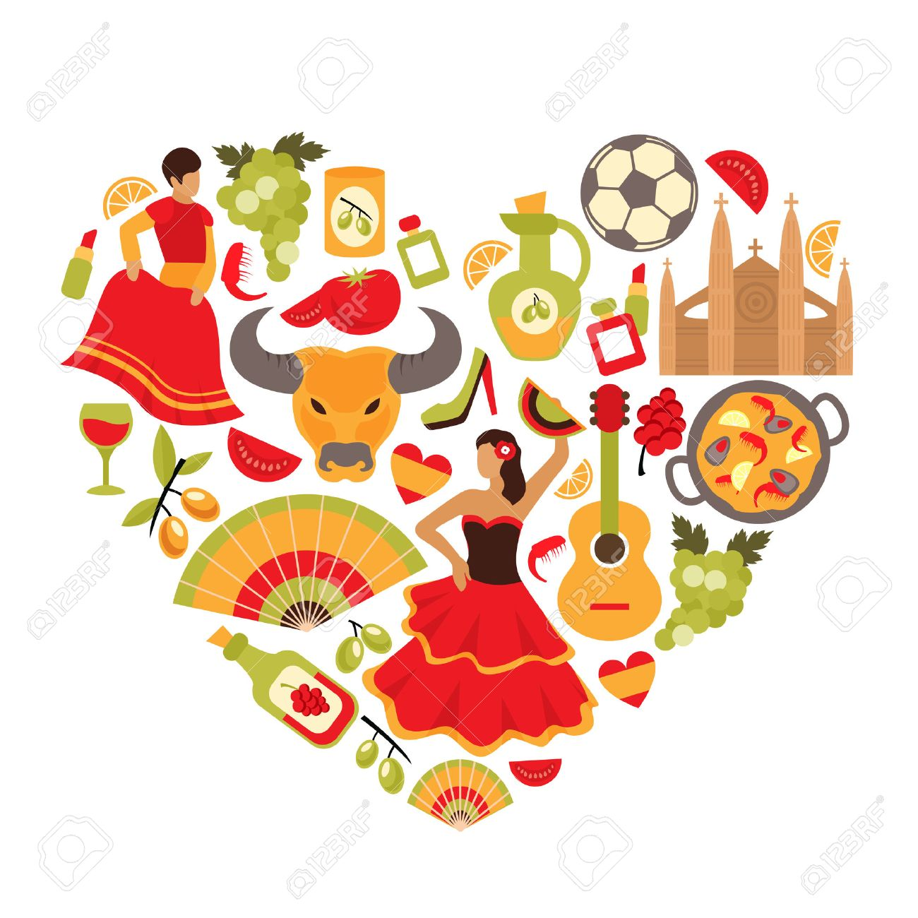 Decorative Spain Cultural Traditions Flamenco Dance Food Grape