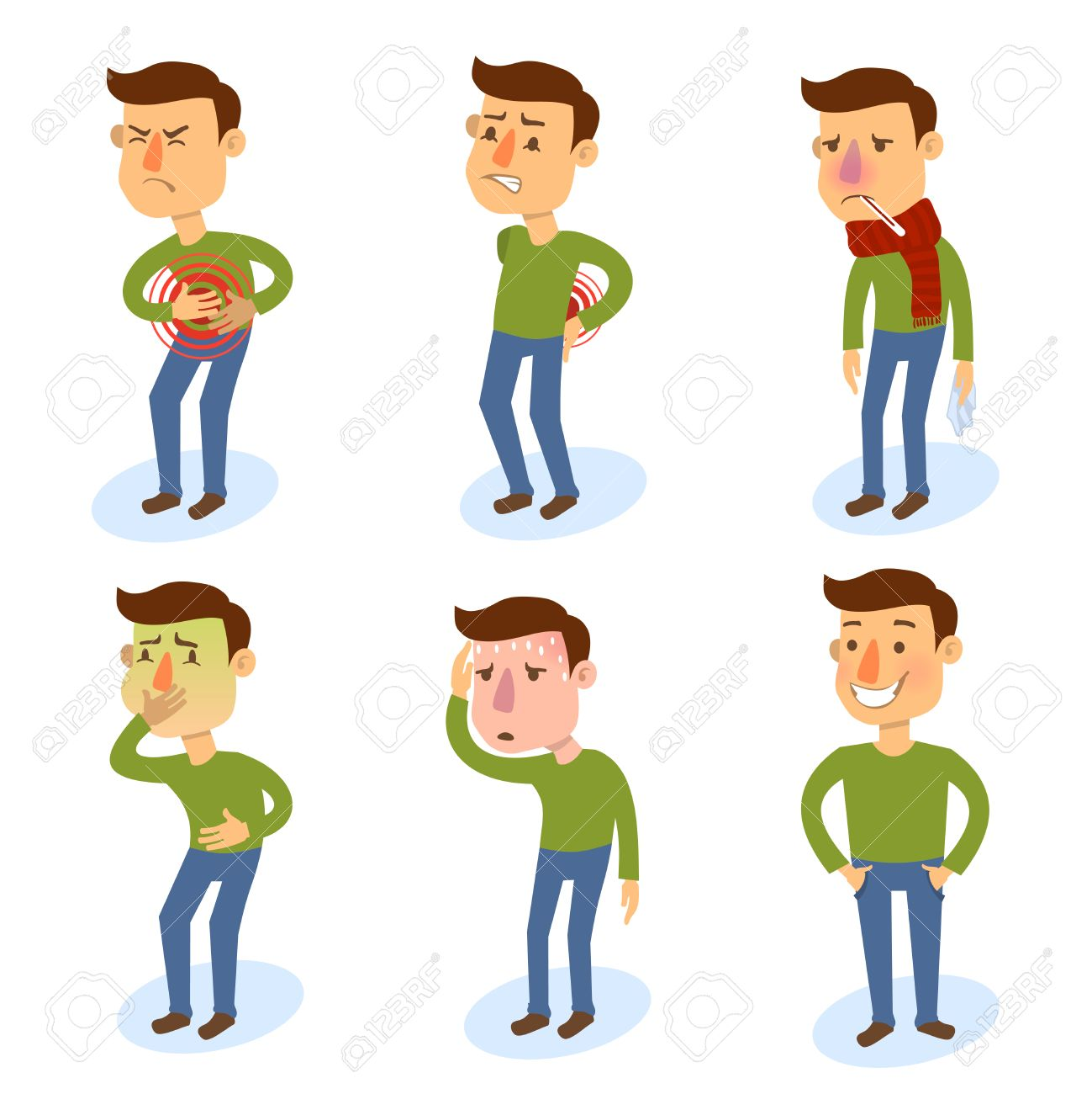 Sick characters set of people with pain and diseases isolated vector illustration. - 31011004