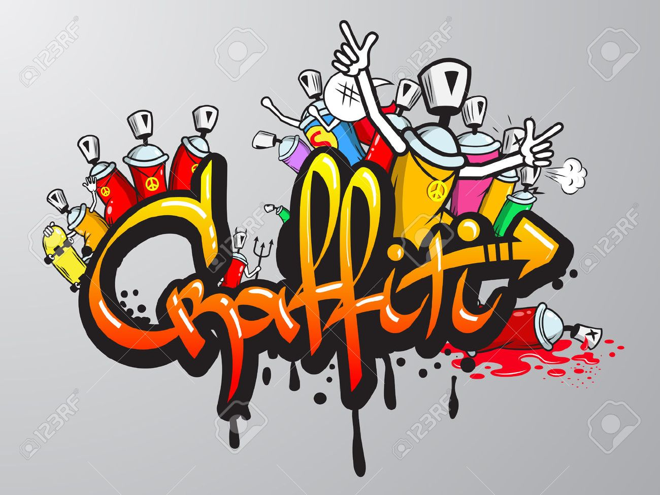 Graffiti Art Characters Spray Can Decorative Graffiti Art Spray